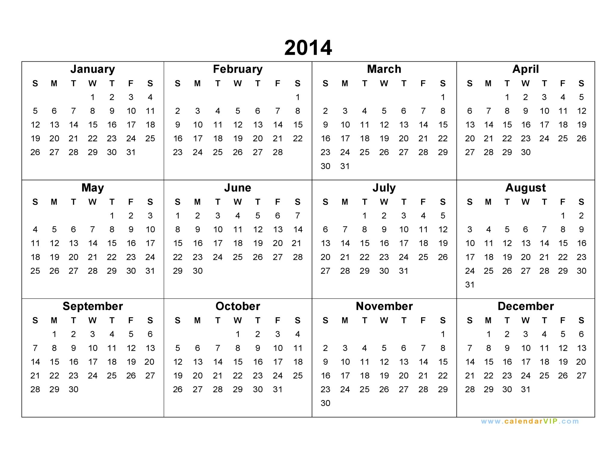 2014 Calendar - Blank Printable Calendar Template In Pdf Word Excel with 2014 12 Month Blank Calendar