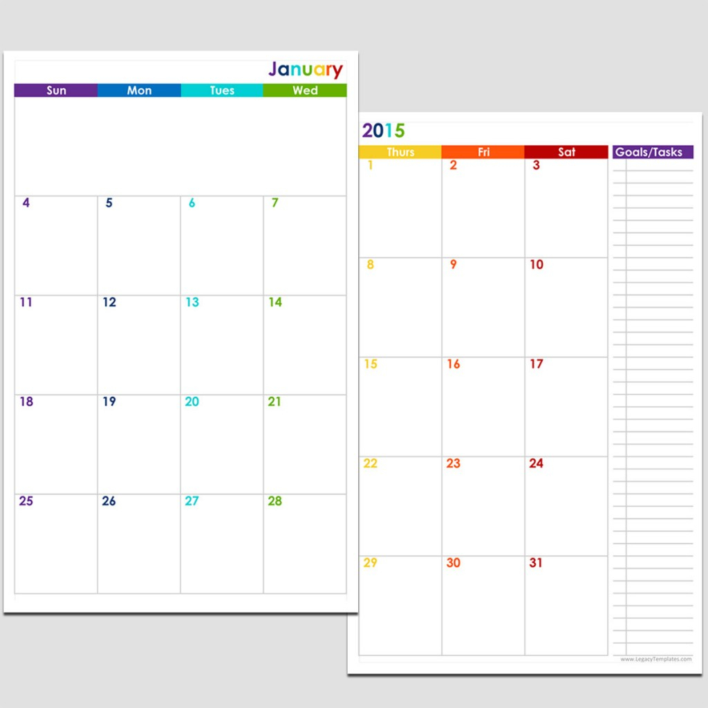 2015 12-Month 2 Page Calendar - Half Size | Legacy Templates within 2 Page Monthly Calendar Template
