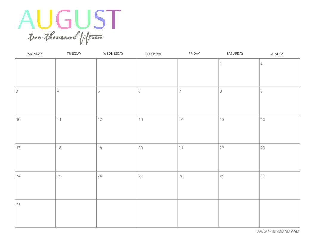 2015 August Calendar - Sansu.rabionetassociats within Cute Calendar Template August