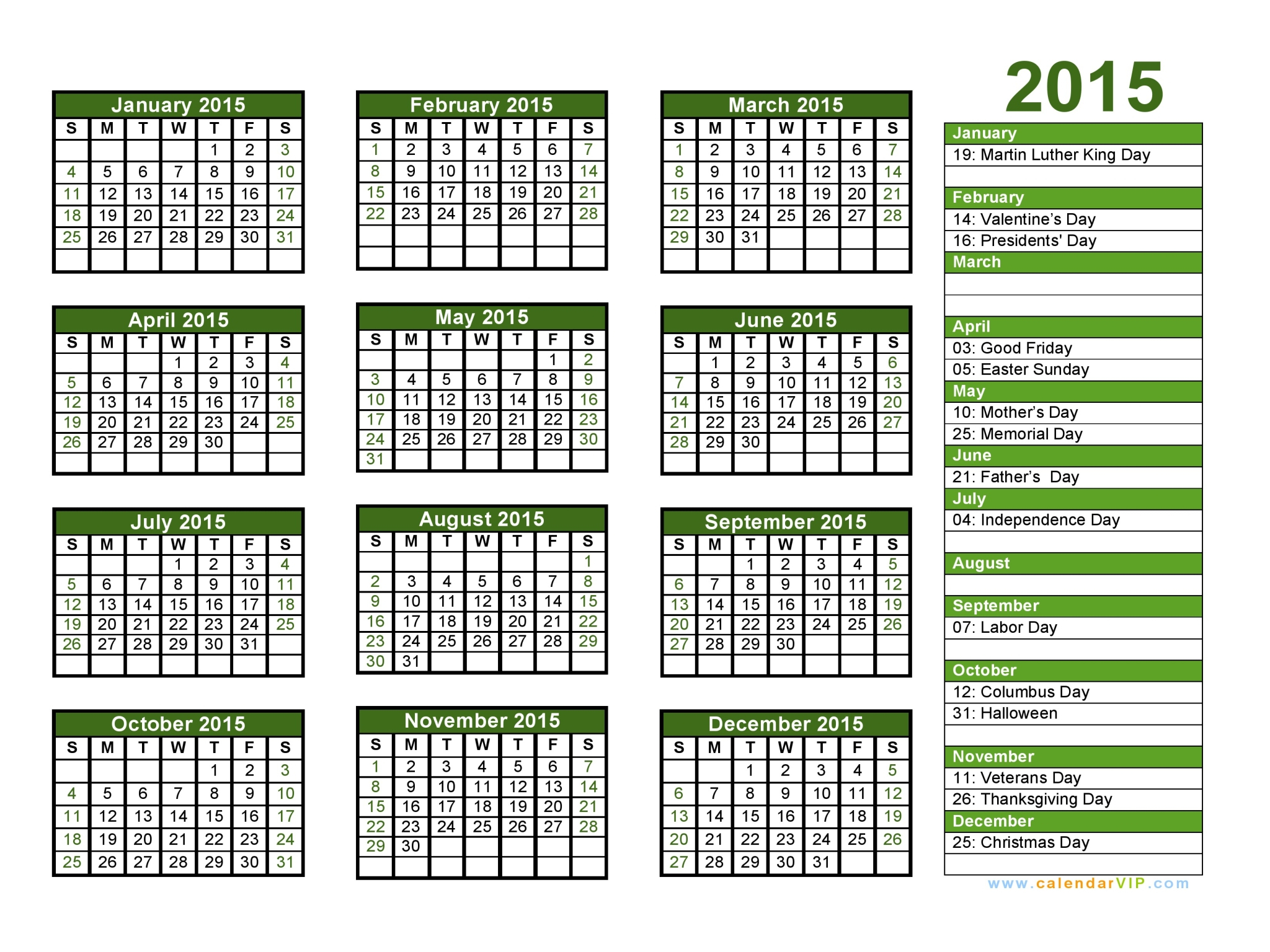 2015 Calendar - Blank Printable Calendar Template In Pdf Word Excel intended for 2014 12 Month Blank Calendar