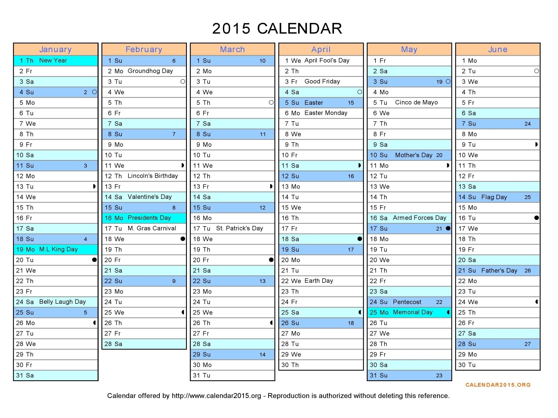 2015 Calendar In Excel - Free Printable Calendar Templates | Chainimage regarding Free Excel Calendar Templates