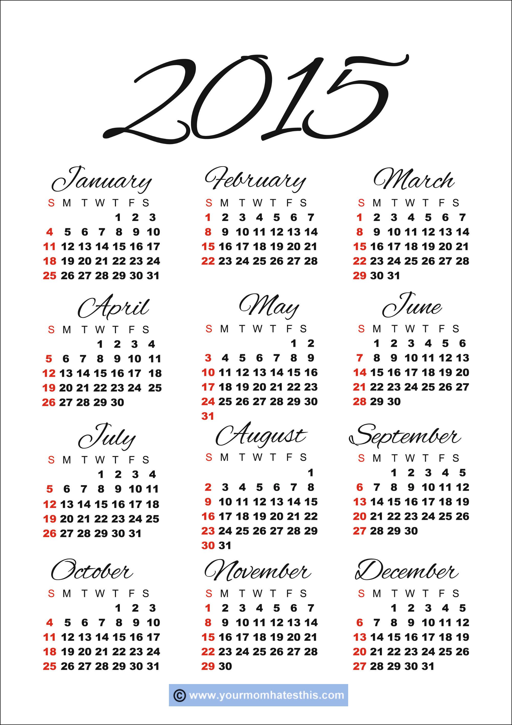 2015 Calendar Templates & Images inside 2014 12 Month Blank Calendar