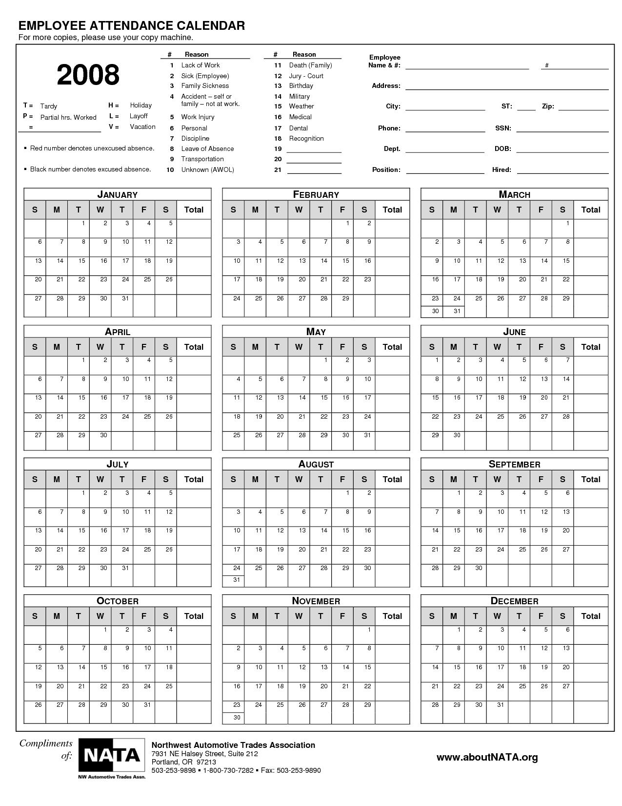 2015 Employee Attendance Calendar Free Printable Attendance pertaining to Printable Employee Attendance Calendar Template