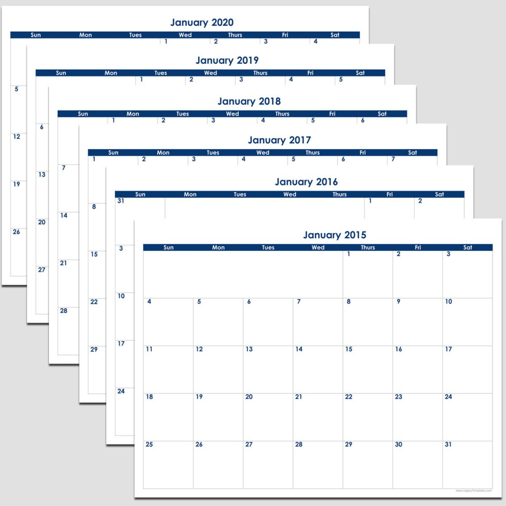 "2015 To 2020 - 72 Month Calendar - 8 1/2"" X 11"" 