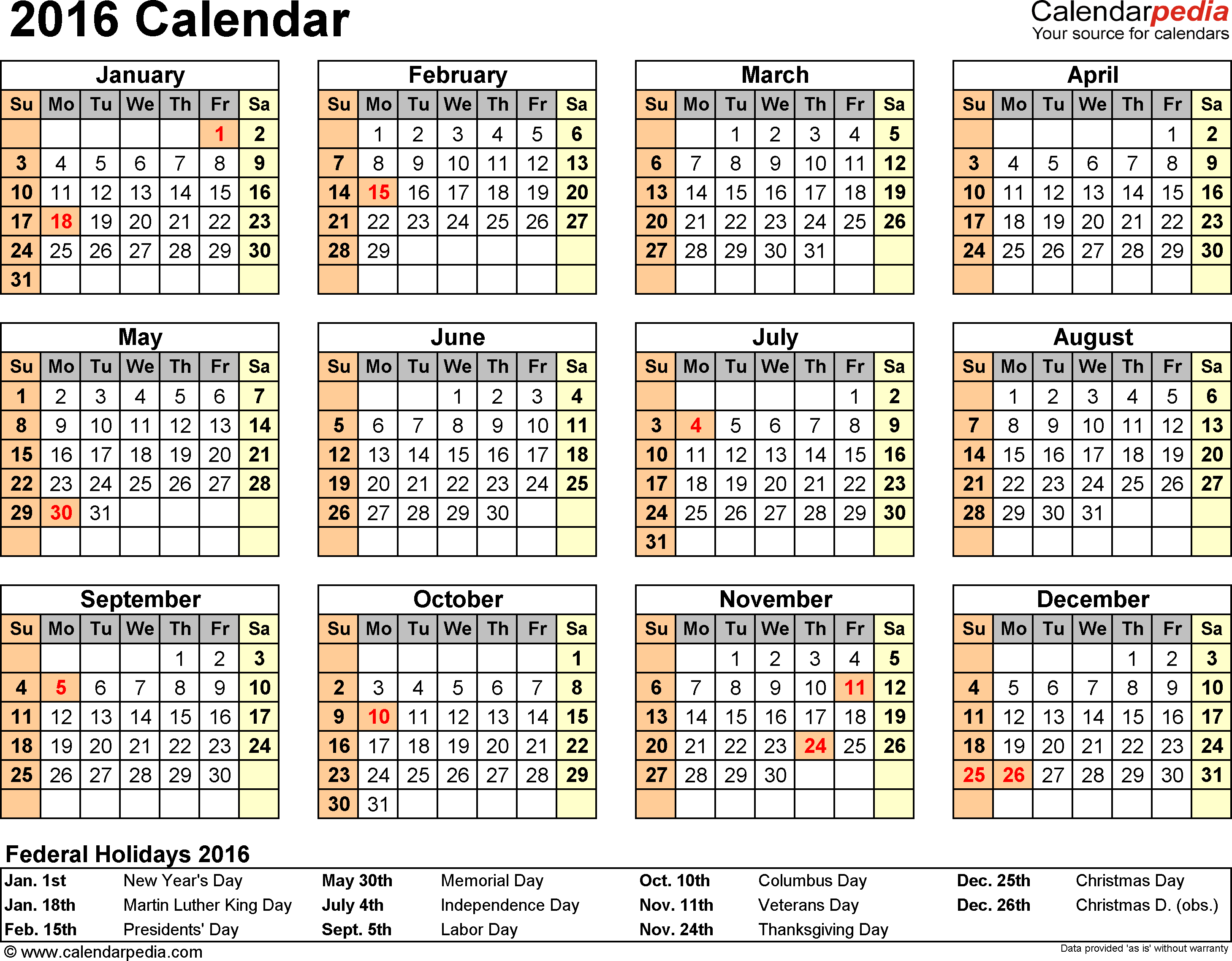 2016 Calendar - Download 16 Free Printable Excel Templates (.xlsx) with regard to Calendar Template Year At A Glance
