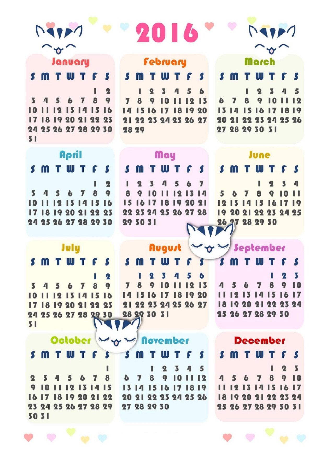 2016 Calendar Printable One Page | Activity Shelter within Calendar Printable One Page Templates