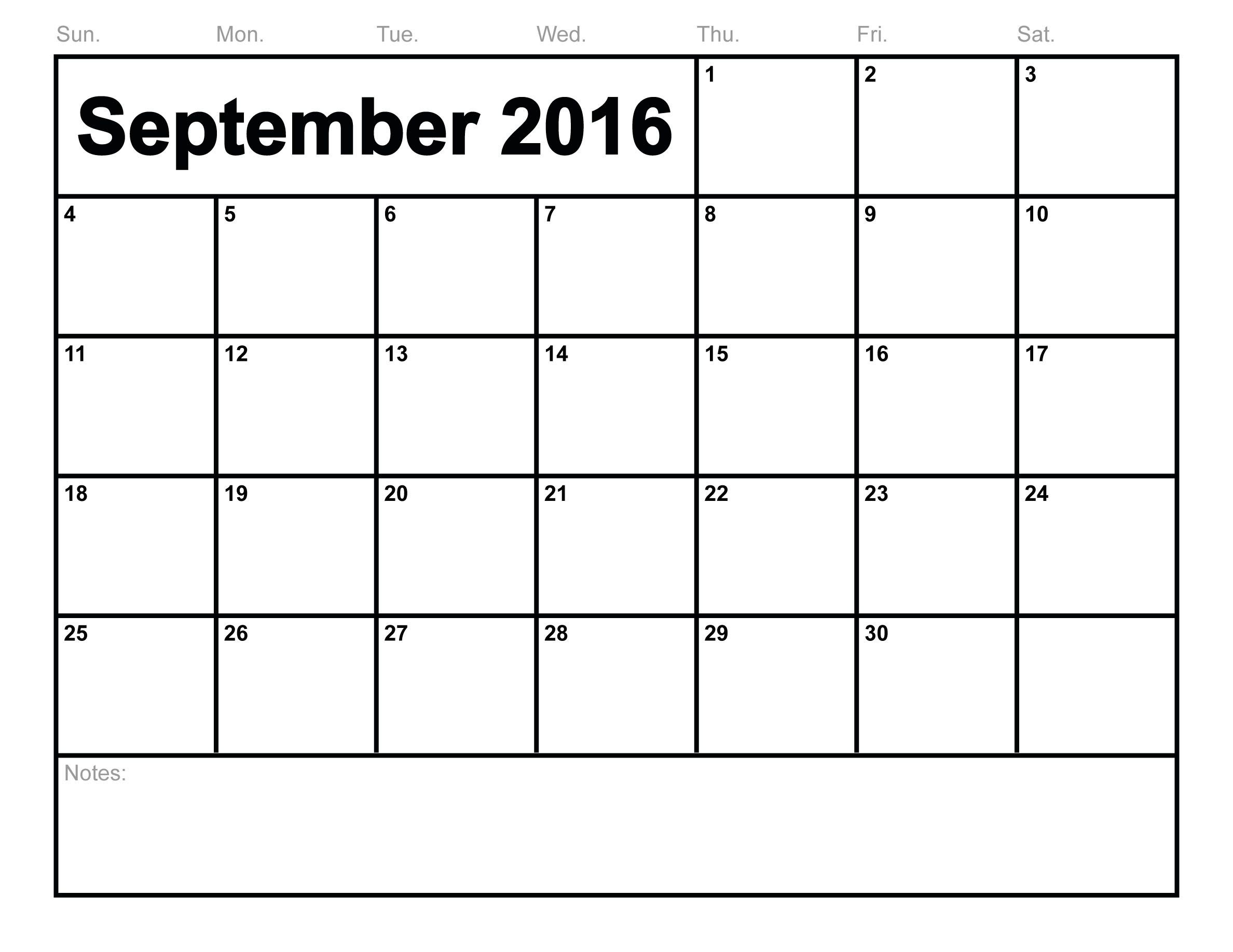 2016 September Month Calendar Template Page | Calendar Template 2019 with Blank Calendar Print-Outs Fill In Sept