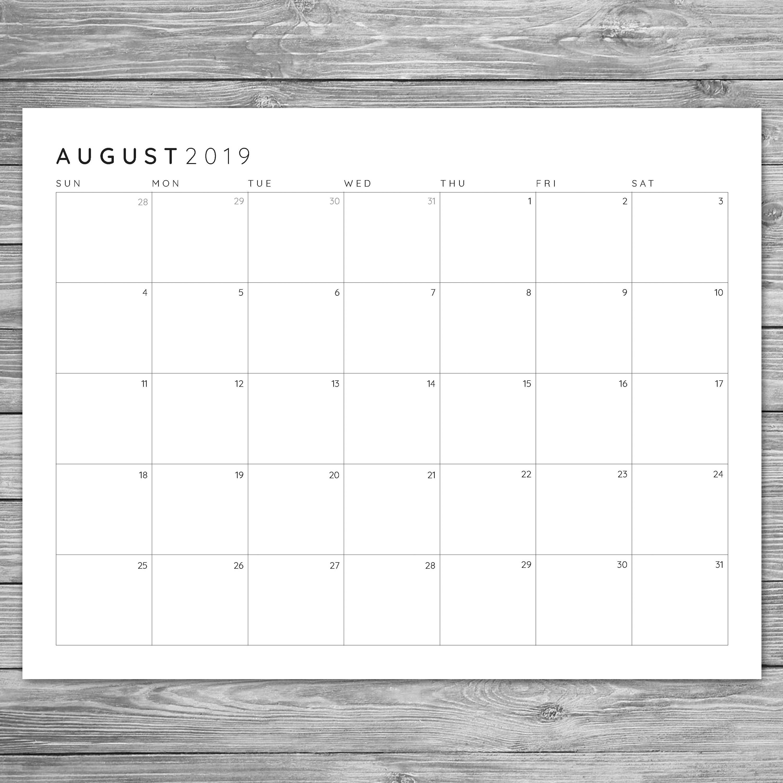 2017 2018 2019 Printable Minimalist Monthly Grid Calendar, Desk in Free Printable Blank Advent Activities List Minimal