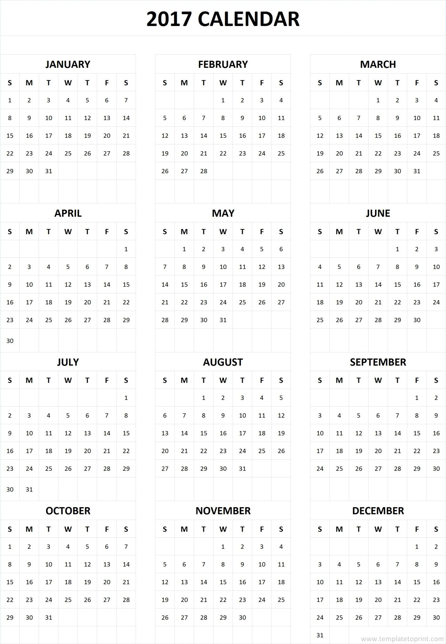 2017 Calendar Printable One Page » Template To Print intended for Calendar Printable One Page Templates
