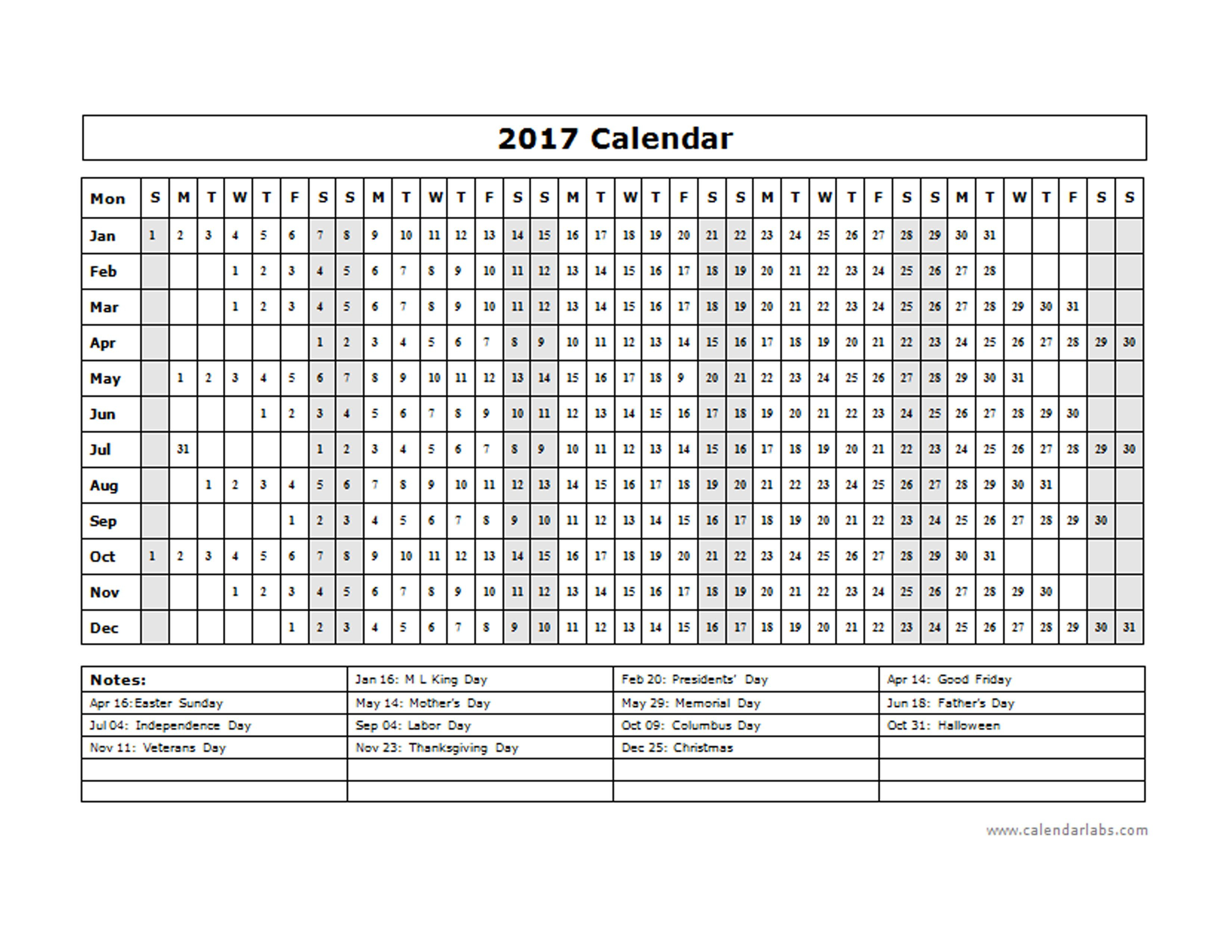 2017 Calendar Template Year At A Glance Free Printable Templates within Calendar Template Year At A Glance