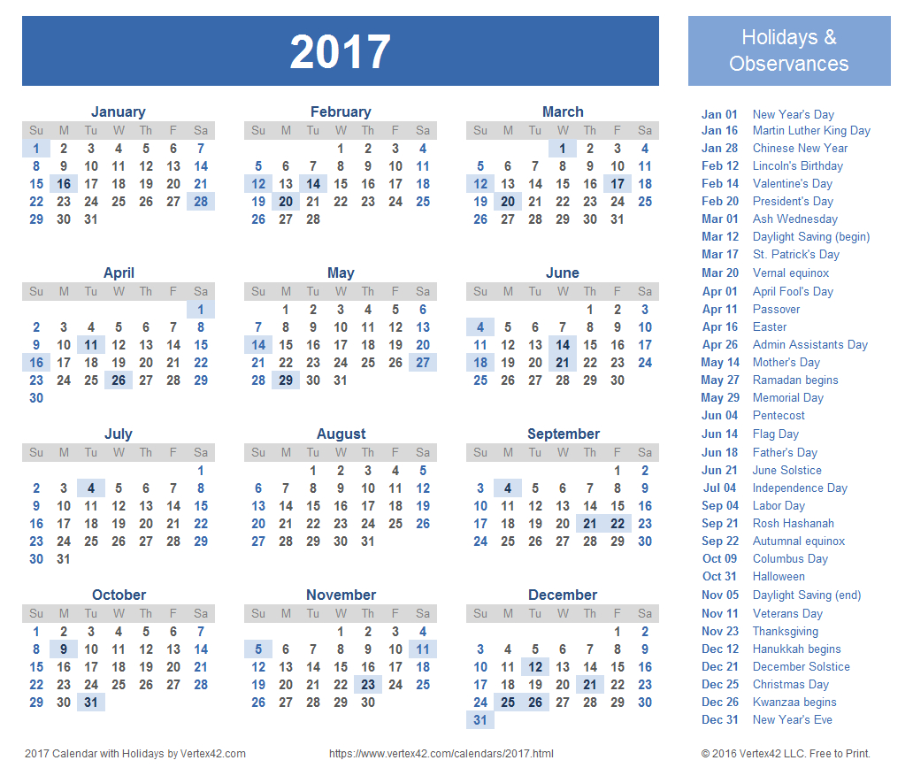 2017 Calendar Templates And Images with Holiday Chart Templates Uk