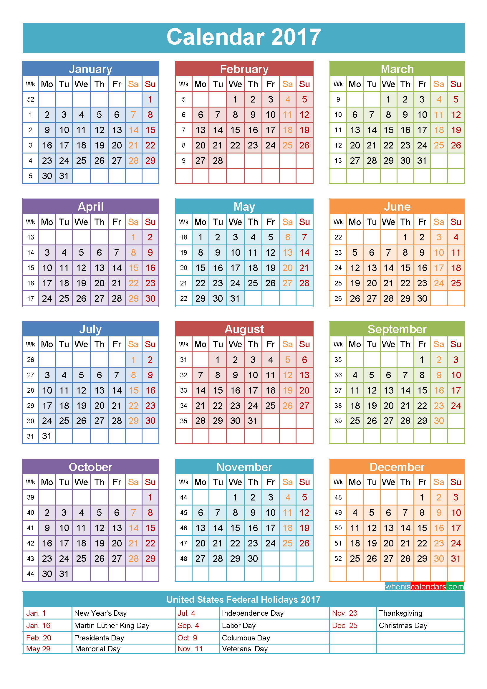 2017 Calendar With Holidays Printable Yearly Calendar Template for Free Yearly 5.5 X 8.5 Calendar 2020