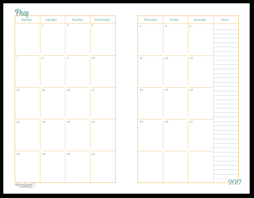 2017 Half-Size Monthly Calendar Printables | Daily Planners | Make A regarding 2 Page Monthly Calendar Template