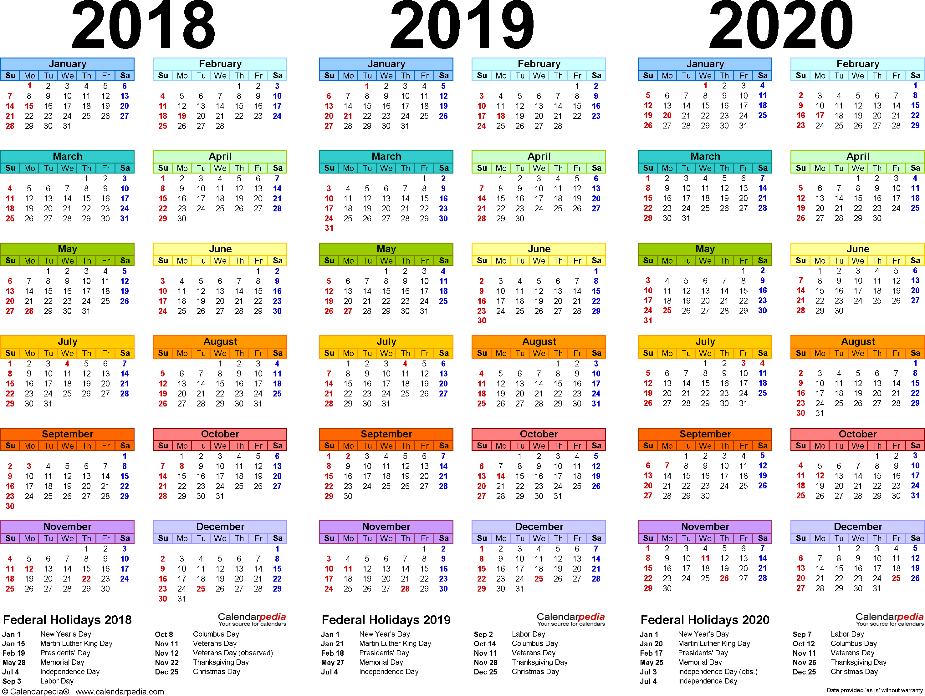 2018/2019/2020 Calendar - 4 Three-Year Printable Pdf Calendars for 10 Years Calendar From 2020