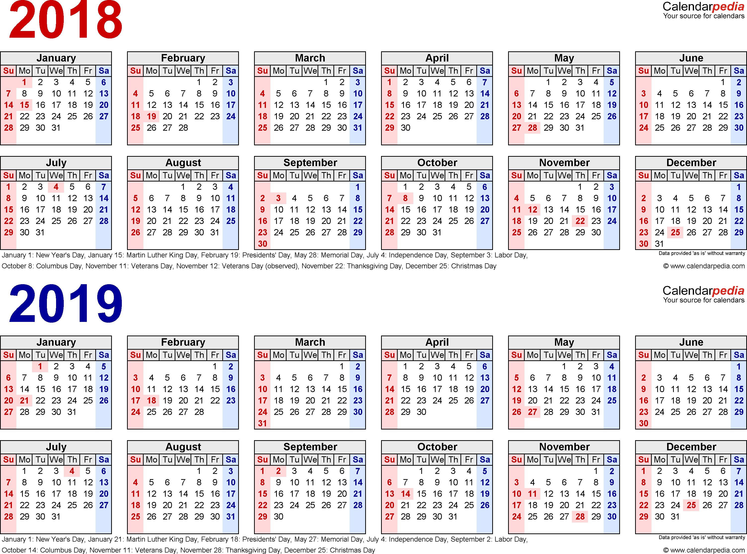 2018-2019 Calendar - Free Printable Two-Year Excel Calendars for Vetex 2020 Word Calendar Download