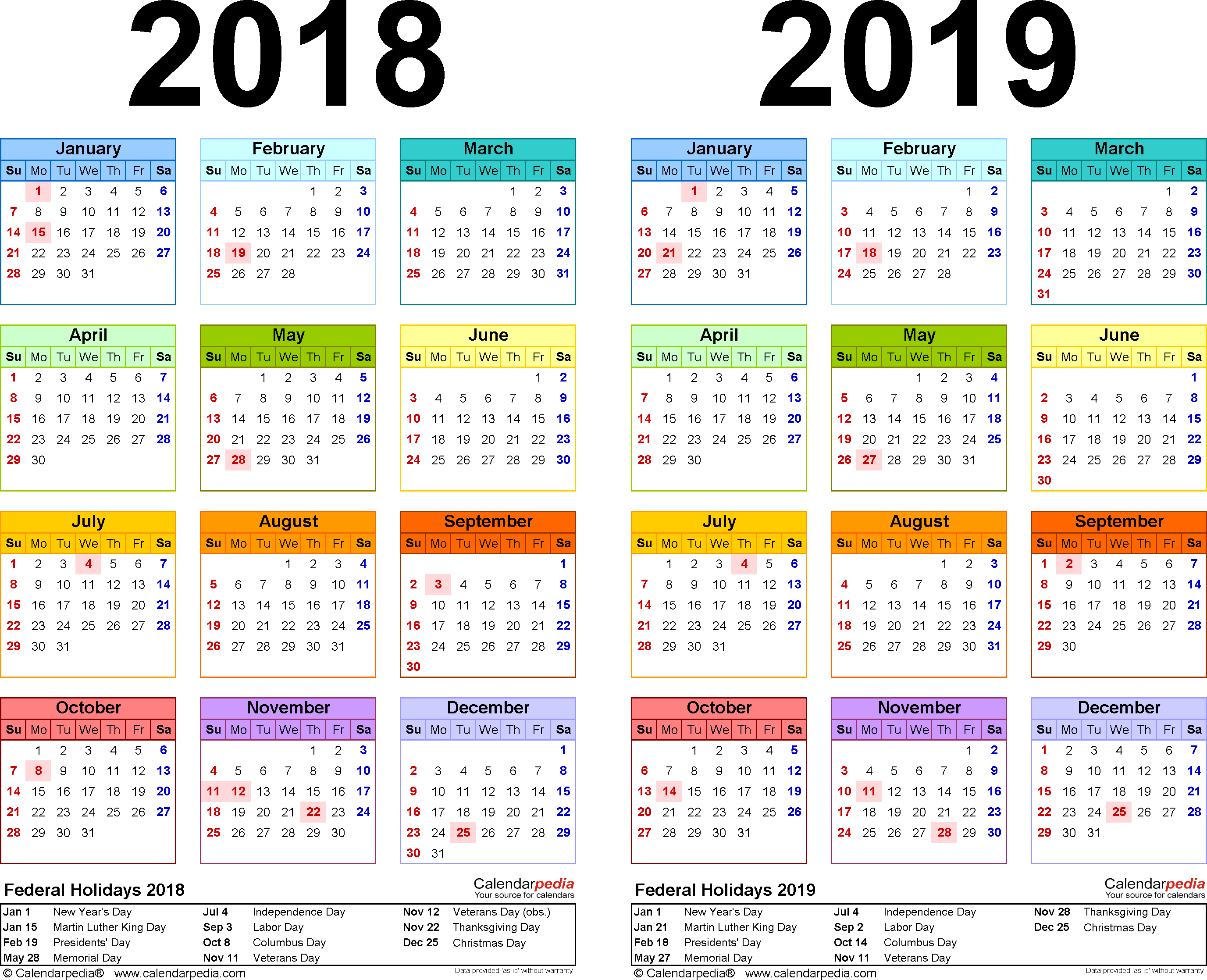 2018-2019 Calendar - Free Printable Two-Year Excel Calendars within Excel 2020 Calendar Year Formula