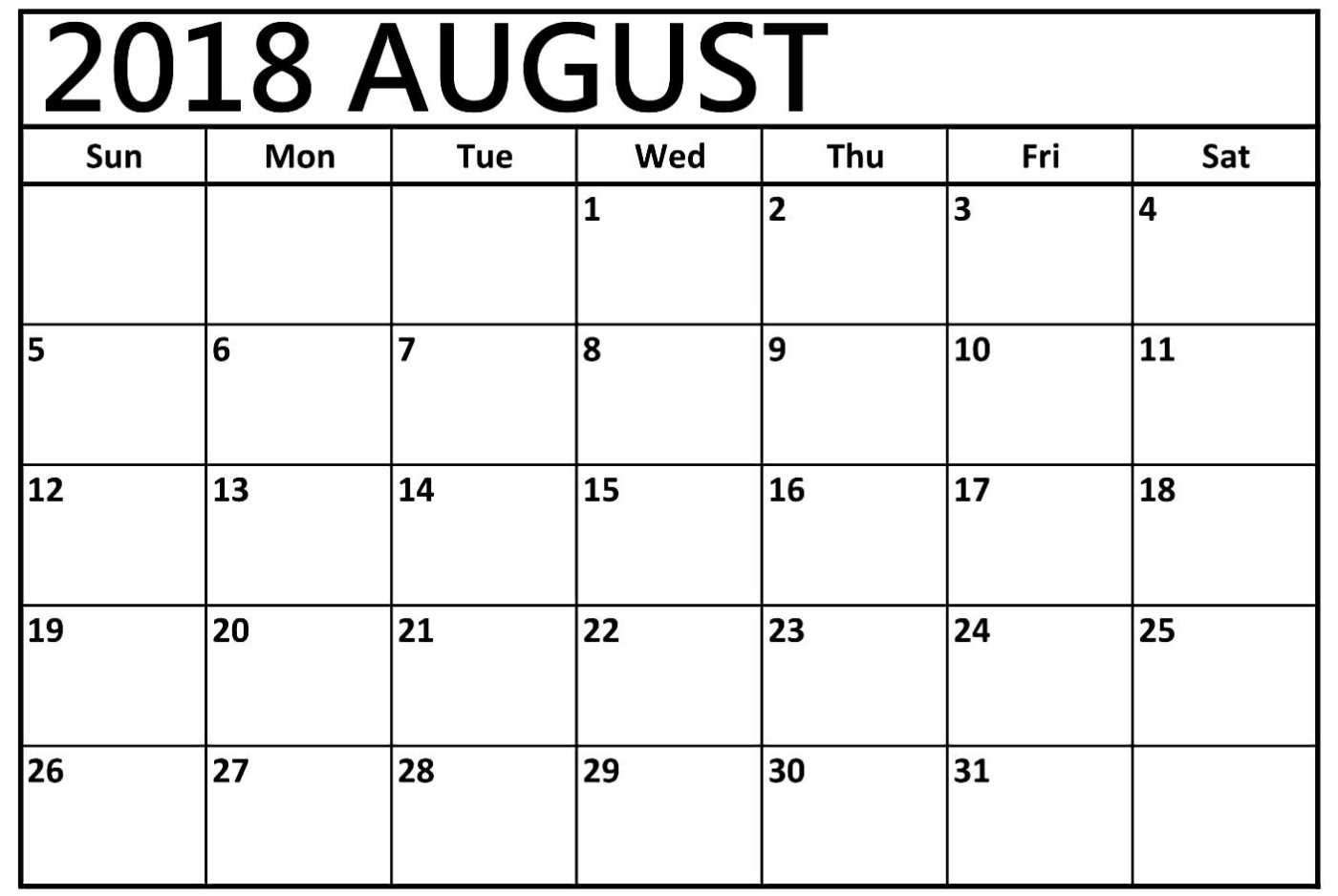 2018 August A4 Calendar Printable Template | [Free} Printable intended for August Blank Calendar Template