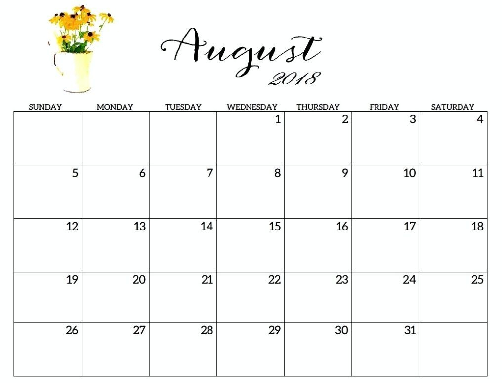 2018 August Calendar Templates | Yearly Calendar Templates pertaining to Monthly August Calander Template