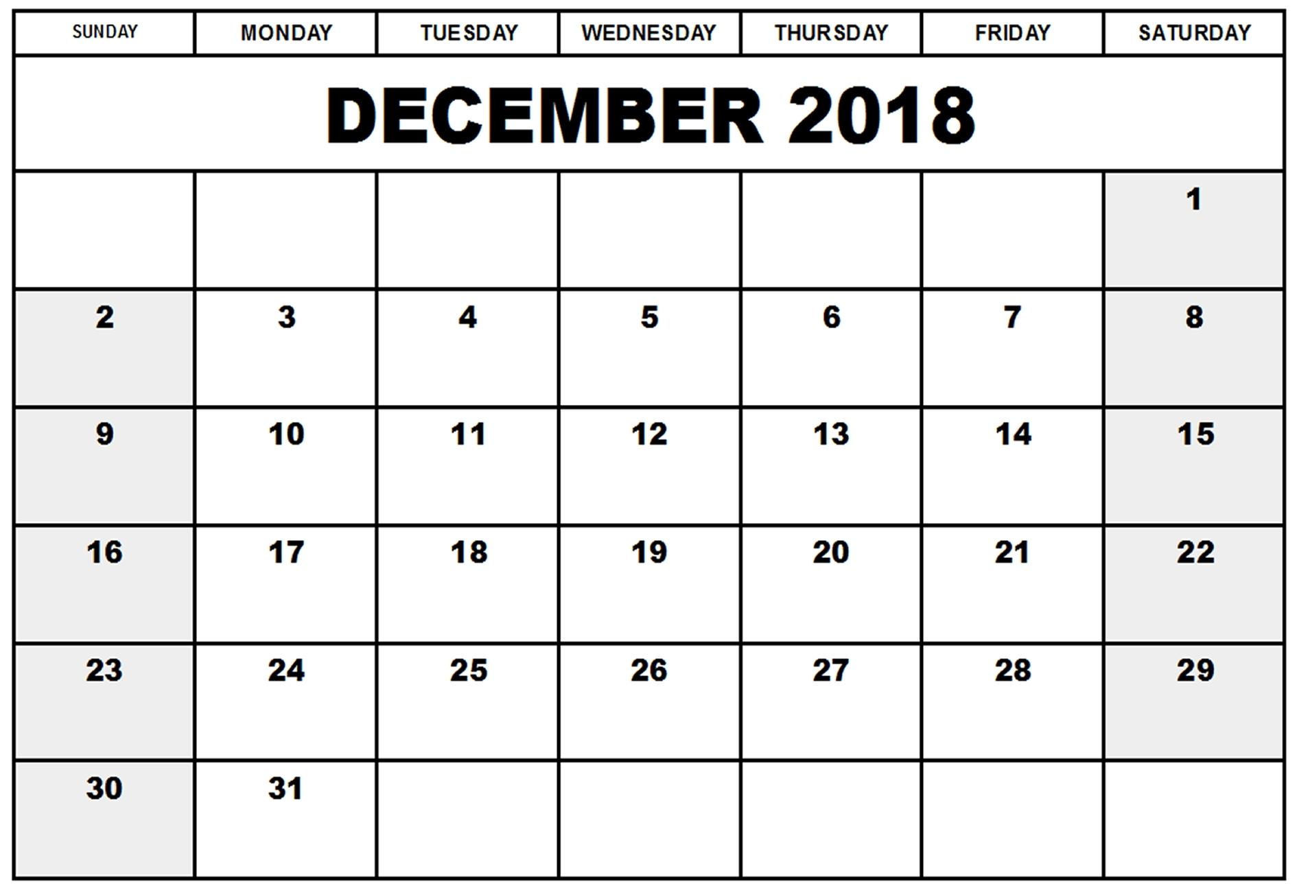 2018 Blank December Calendar Template Download | Free Printable with regard to Blank Calendar Printable December Template