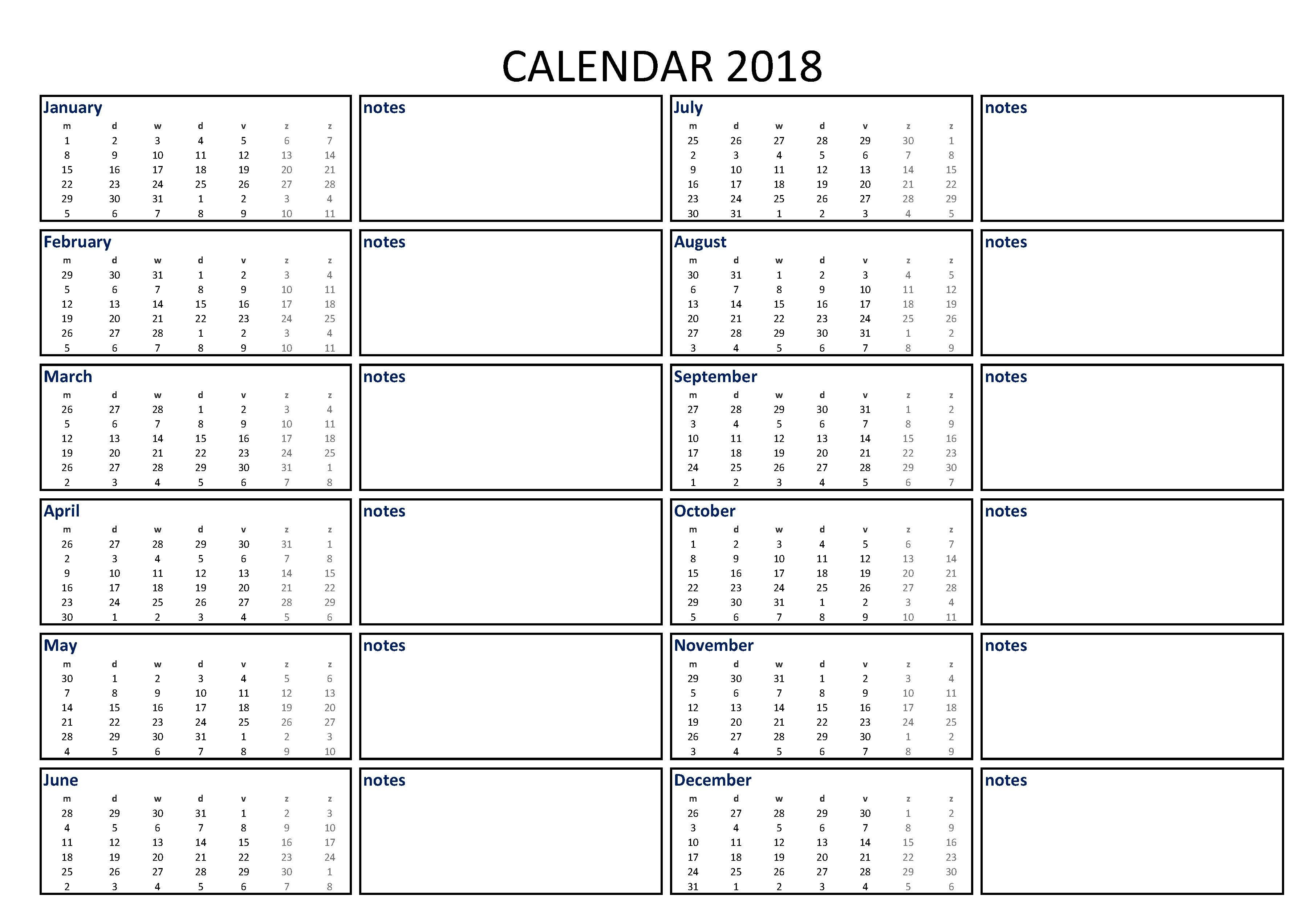 2018 Calendar Excel A3 With Notes - Download Our Free Printable 2018 in A3 Calendar Template Printable