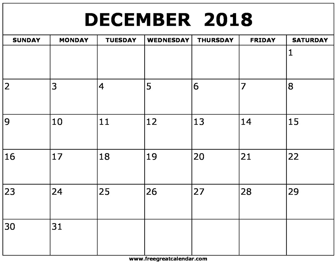 2018 Calendar For December - Free Printable Calendar, Blank Template with Blank Dec Calendar Pages