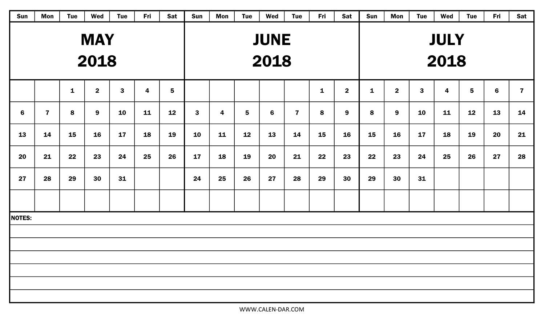 2018 Calendar May June July Template | Free Printable 3 Month Calendar within 3 Month Calendar Templates May June July