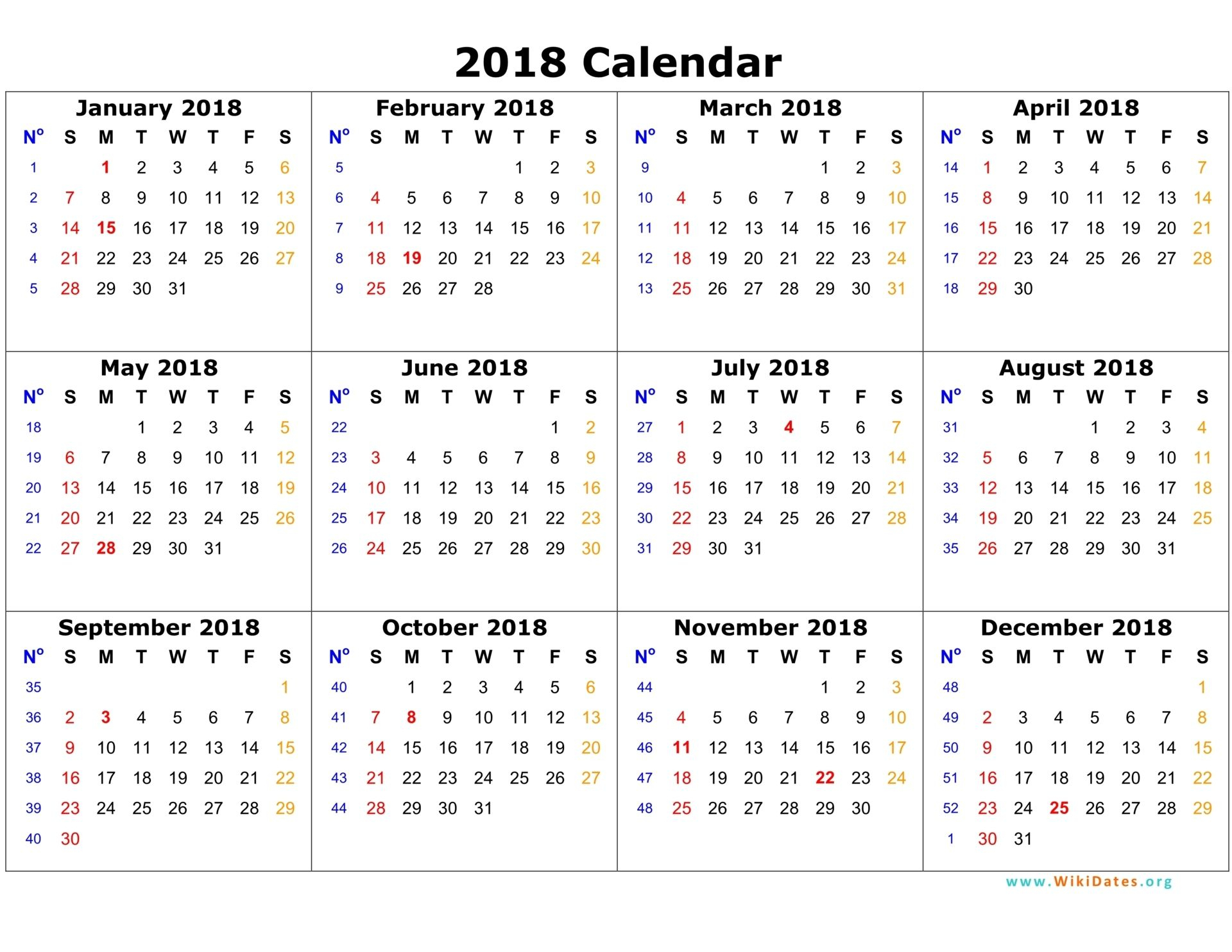 2018 Calendar On One Page | Calendar Template 2016 | Planner Stuff regarding Template For Calendar With 12 Months On One Page