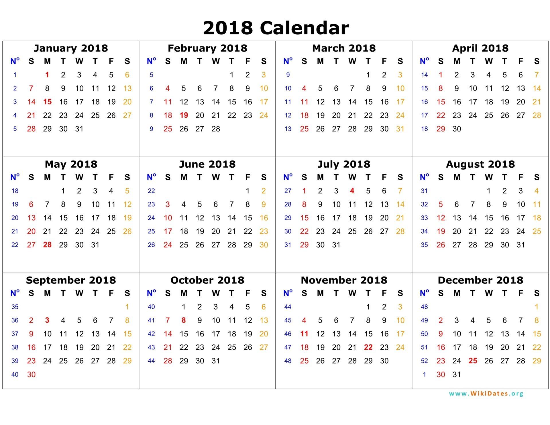 2018 Calendar On One Page | Calendar Template 2016 | Planner Stuff throughout 12 Month Calendar Template Printable