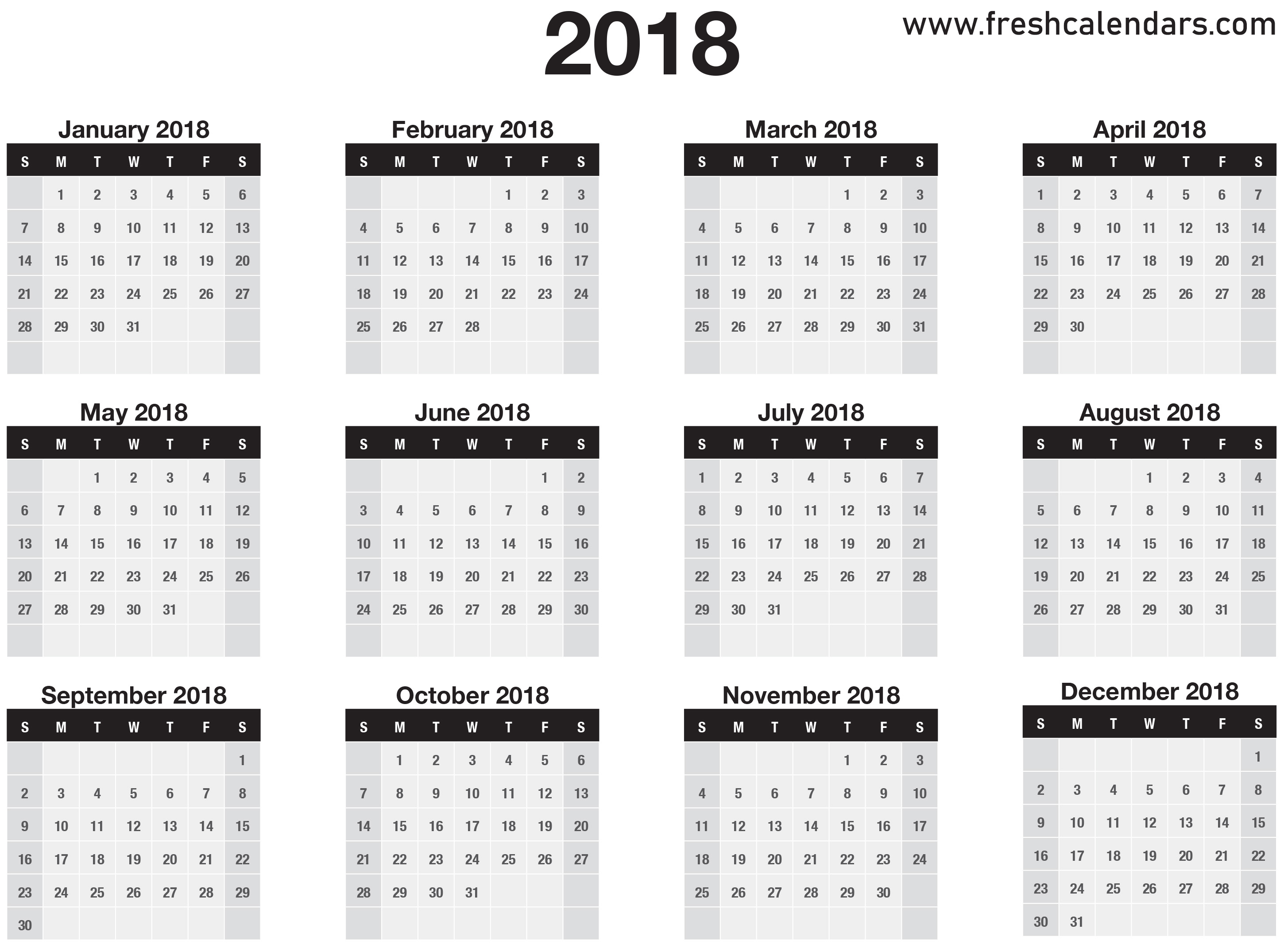2018 Calendar pertaining to Blank 12 Month Calender