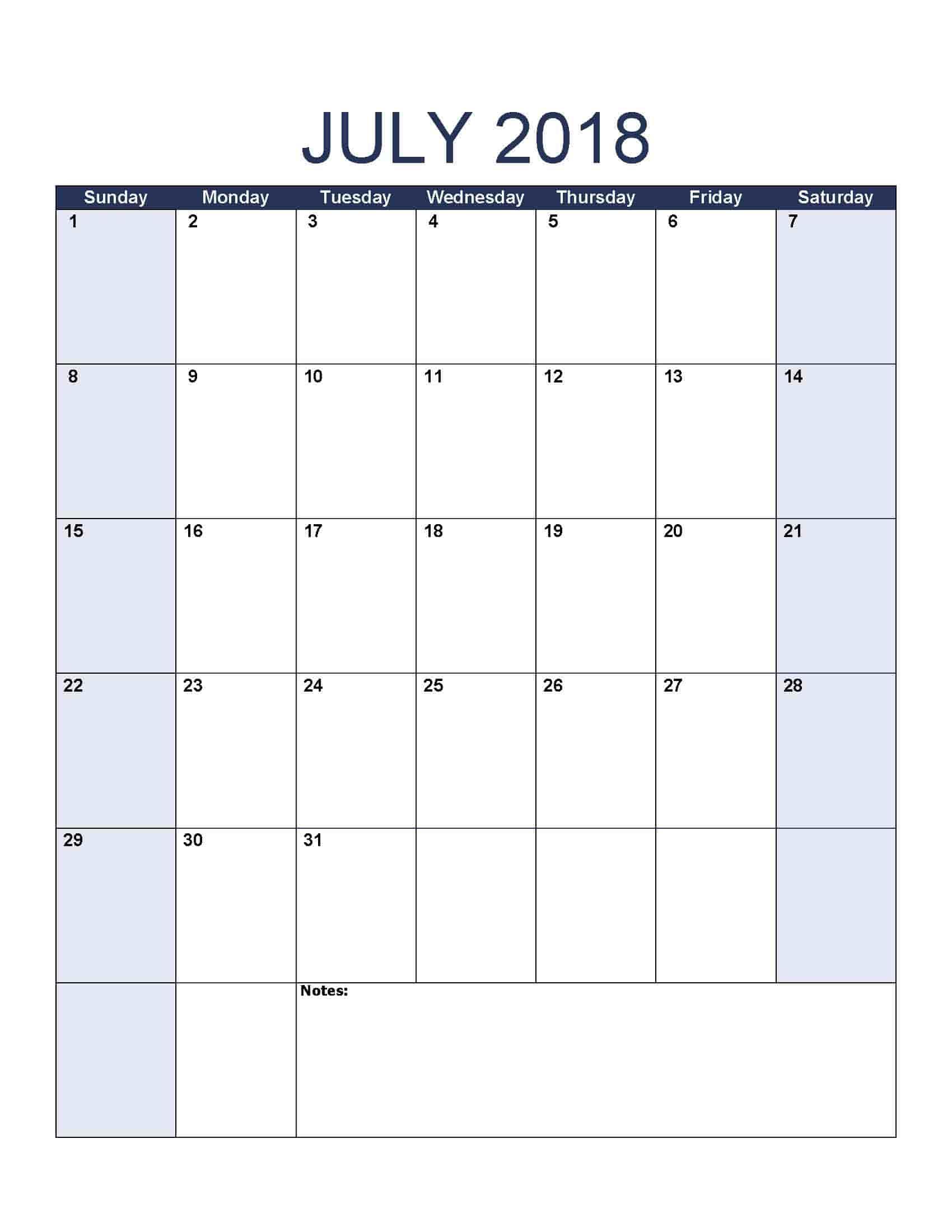 2018 Calendar - Printable Calendar Templates (Free Download) inside Fill In Calendar Templates