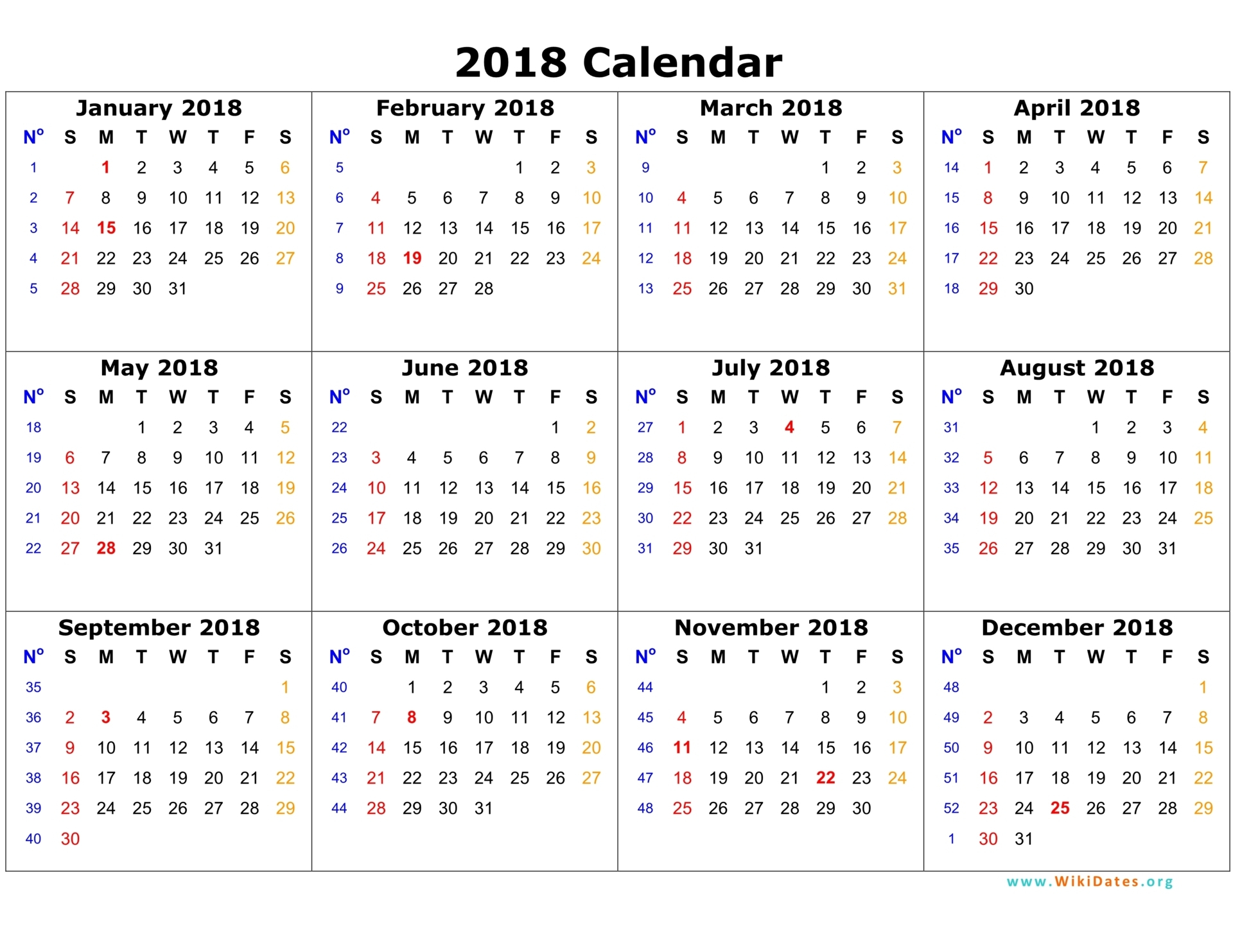 2018 Calendar | Printable | Templates | Blank Calendar | Editable intended for Printable Template For Philippine Calendar