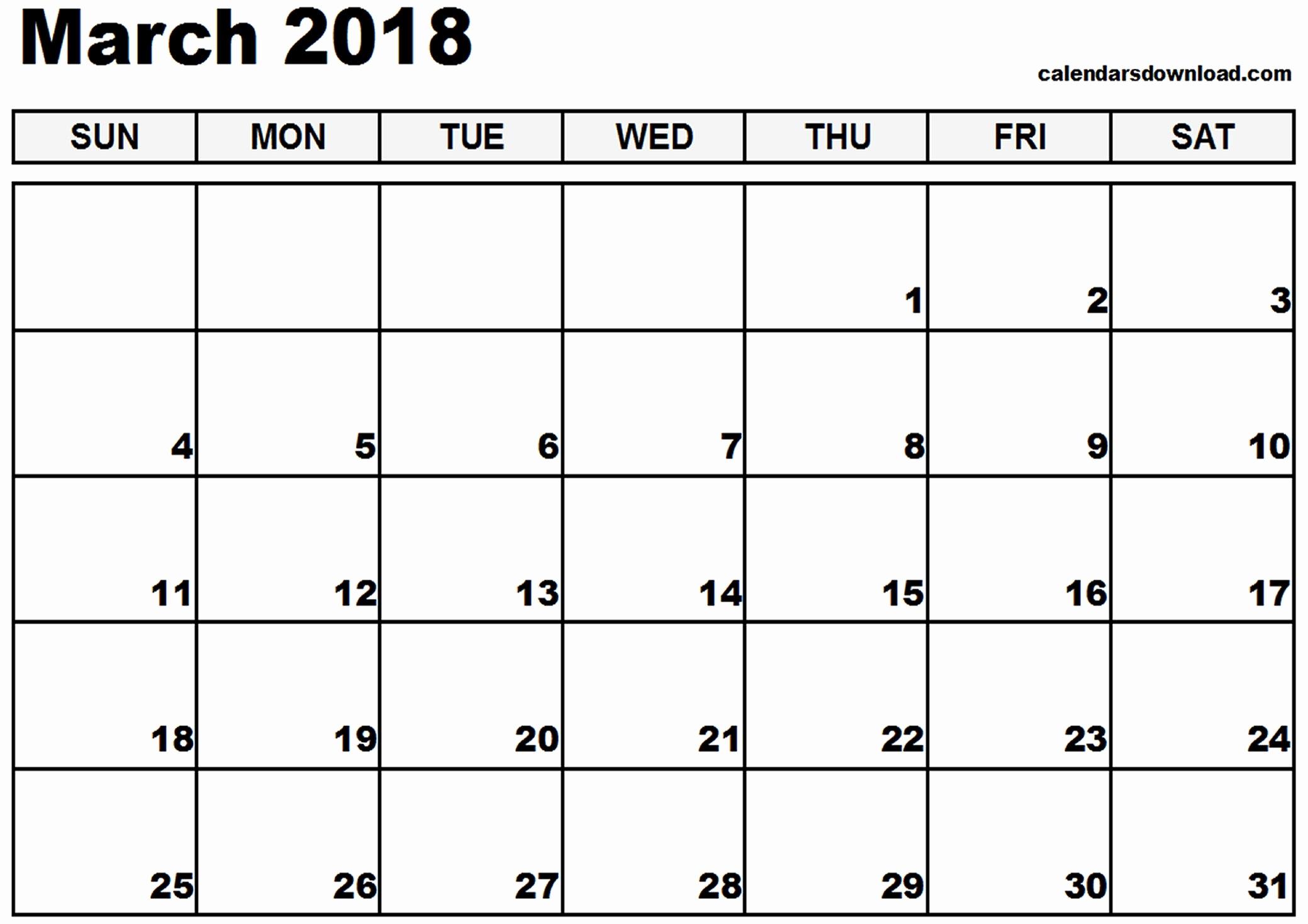 2018 Calendar Template Printable March 2019 Calendar Printable with regard to March Calendar Printable Template