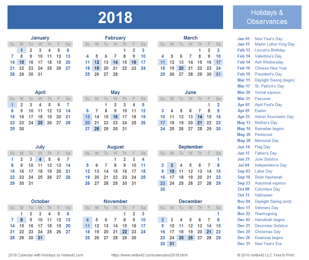 2018 Calendar Templates, Images And Pdfs for Free Printable Calendar Templates 8 X 10
