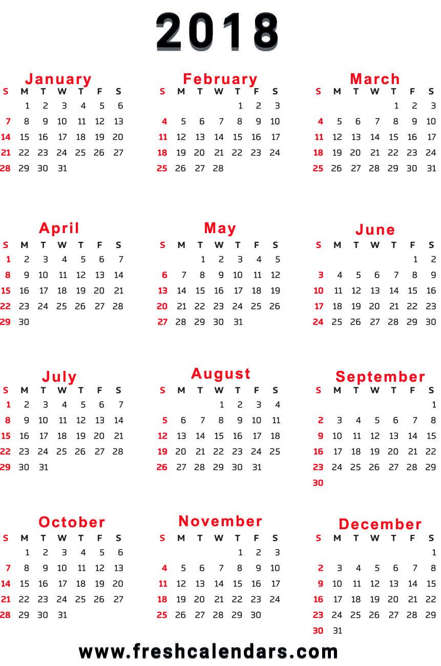 2018 Calendar throughout Calendar Printable One Page Templates
