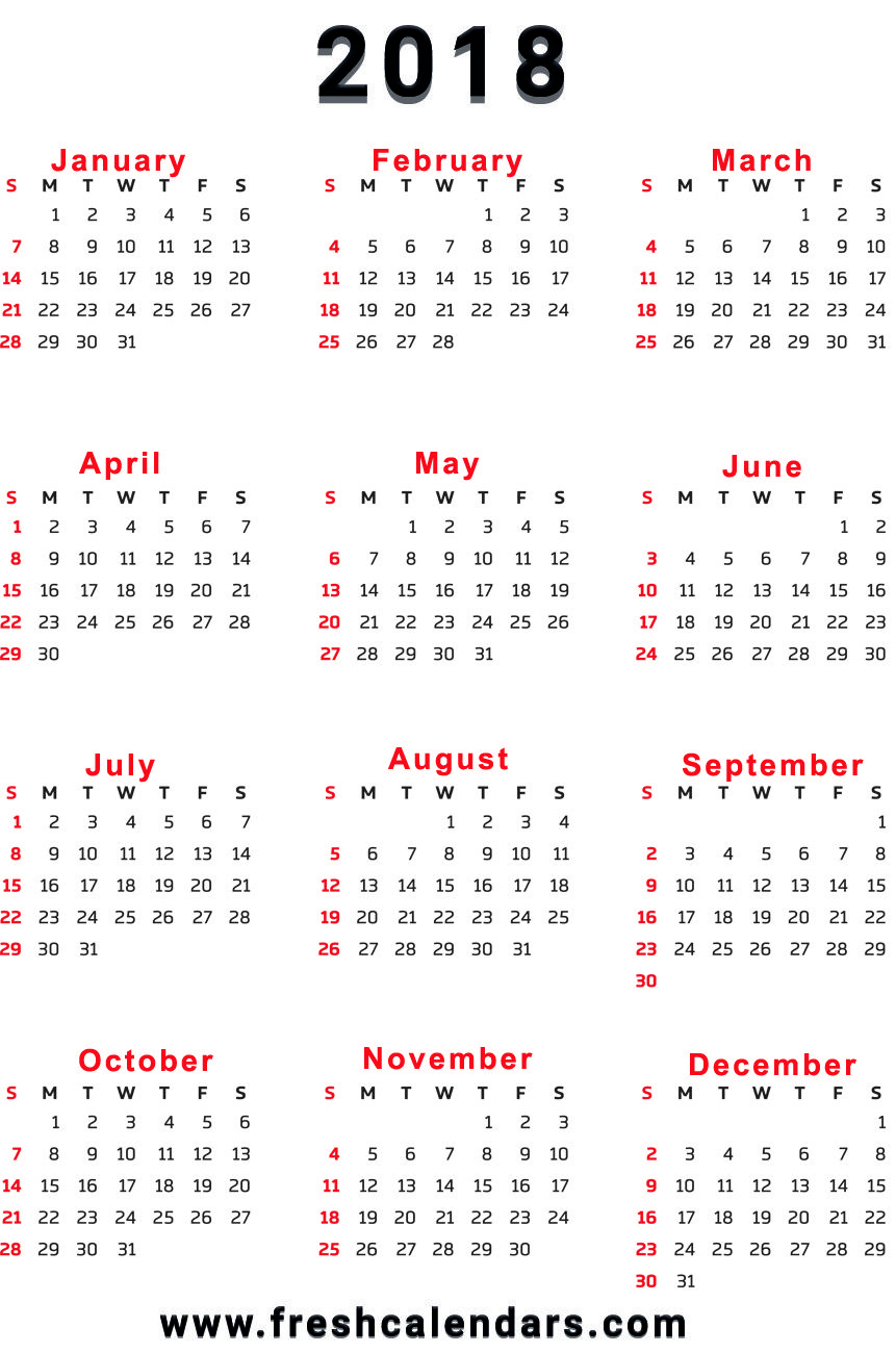 2018 Calendar with 12 Month Calendar Template Printable