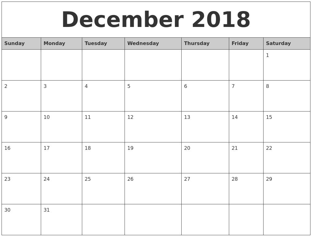 2018 December Calendar Australia | December 2018 Calendar Australia for December Blank Monthly Calendar