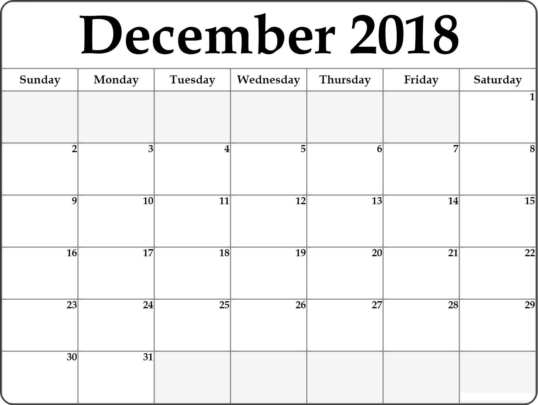 2018 December Calendar Printable Pdf Pictures regarding Blank December Weekly Calander