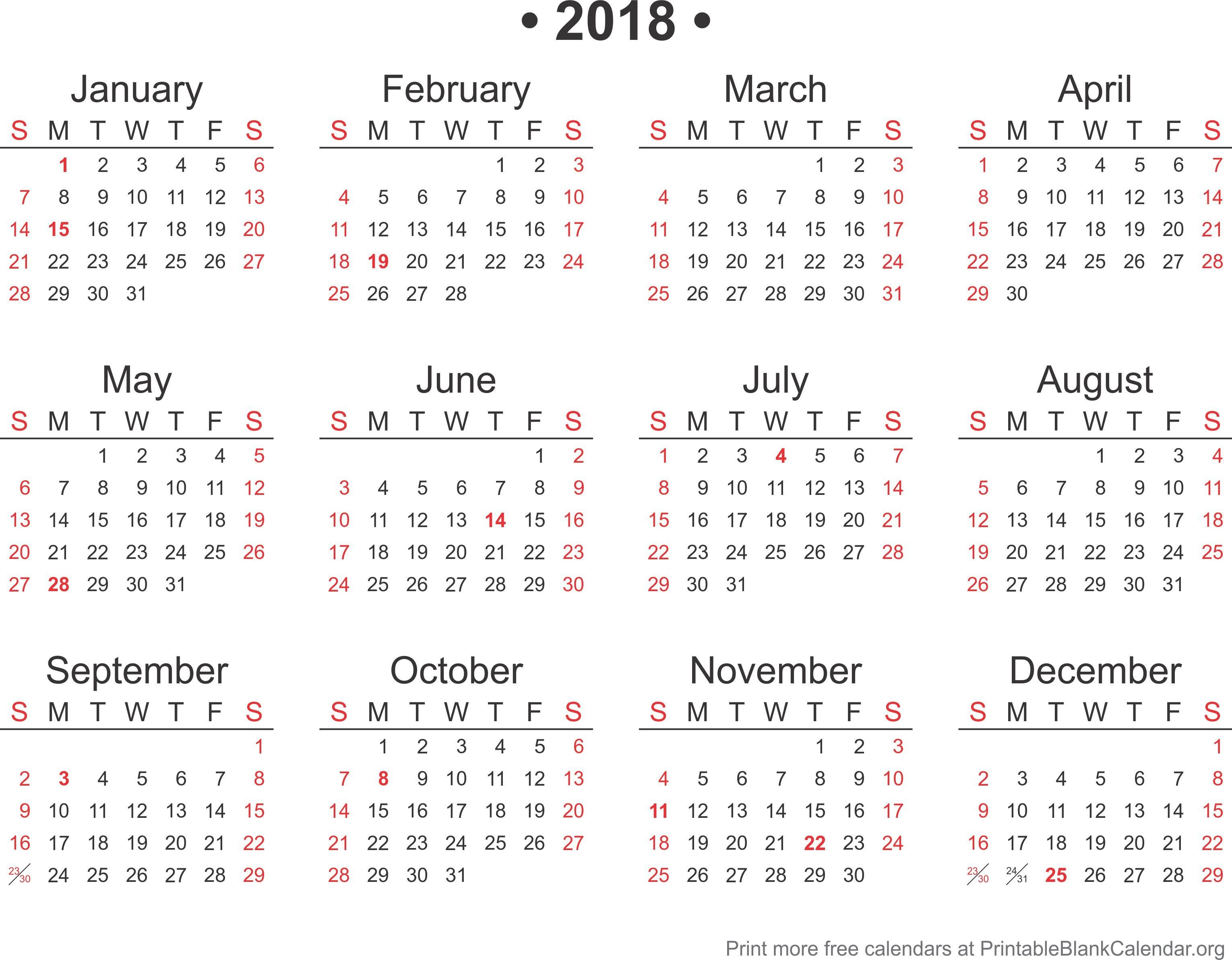 2018 Free Annual Calendar Template Printable Blank Org Showy Mini in Blank Printable Mini Calendar