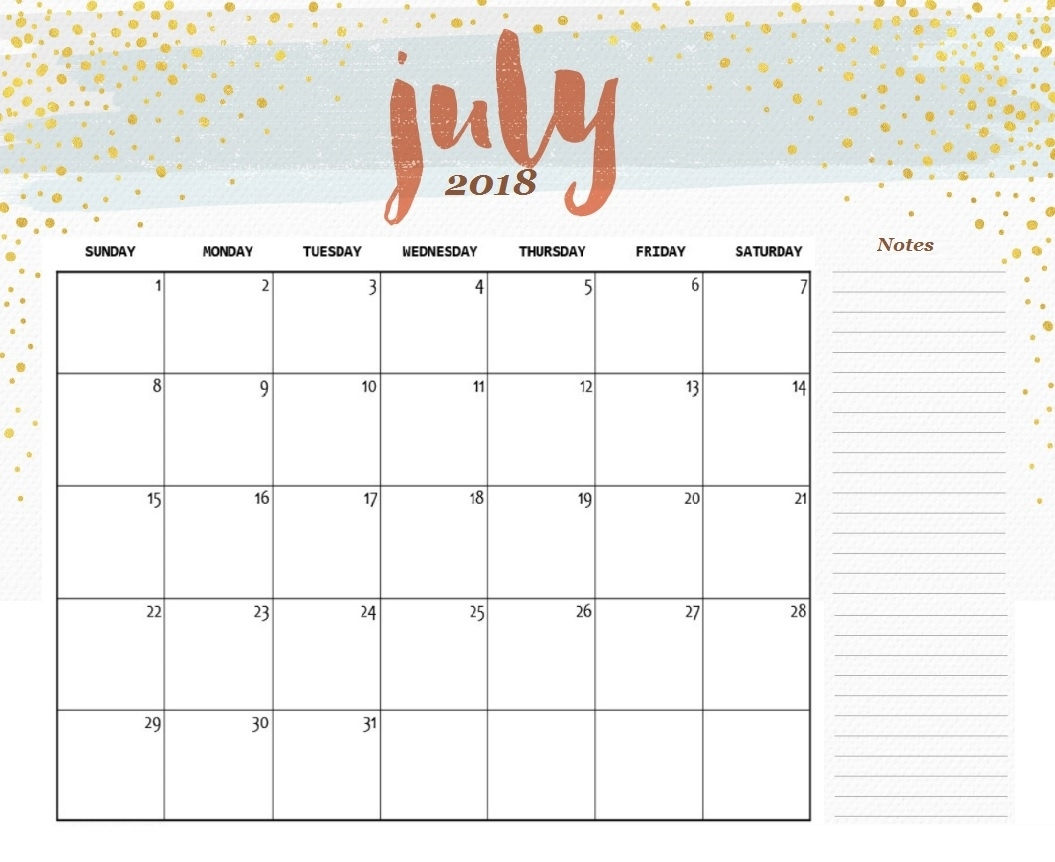2018 Monthly Calendar - June Calendar Printable throughout Pretty Monthly Calendar Template July