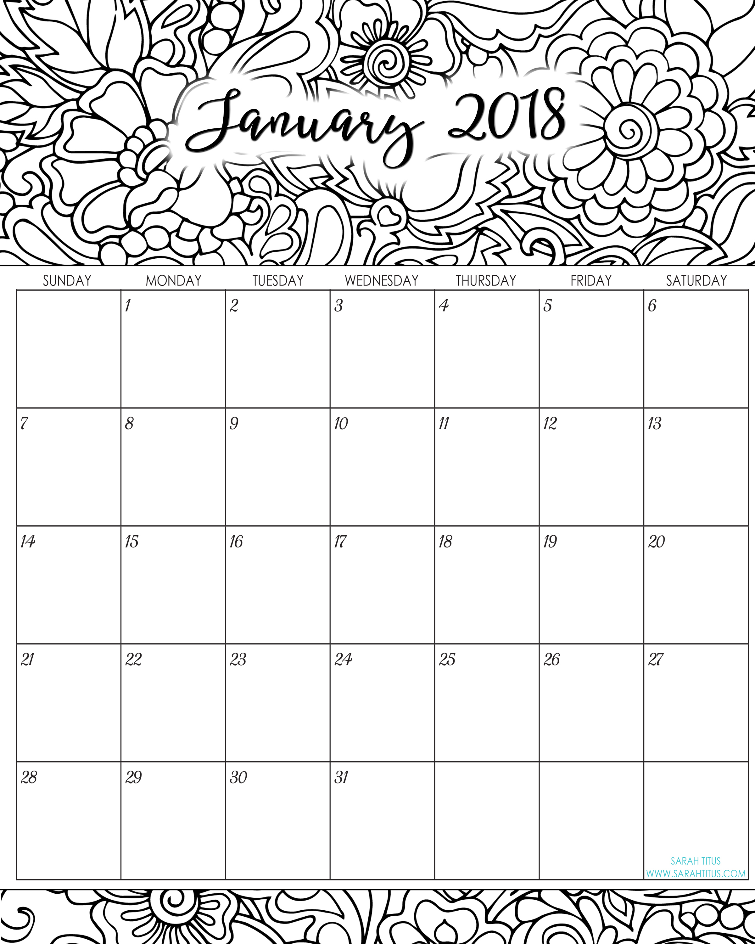 2018 Monthly Coloring Calendars Printables - Sarah Titus with regard to Free Printable Adult October Calendar 2019 Coloring Sheets