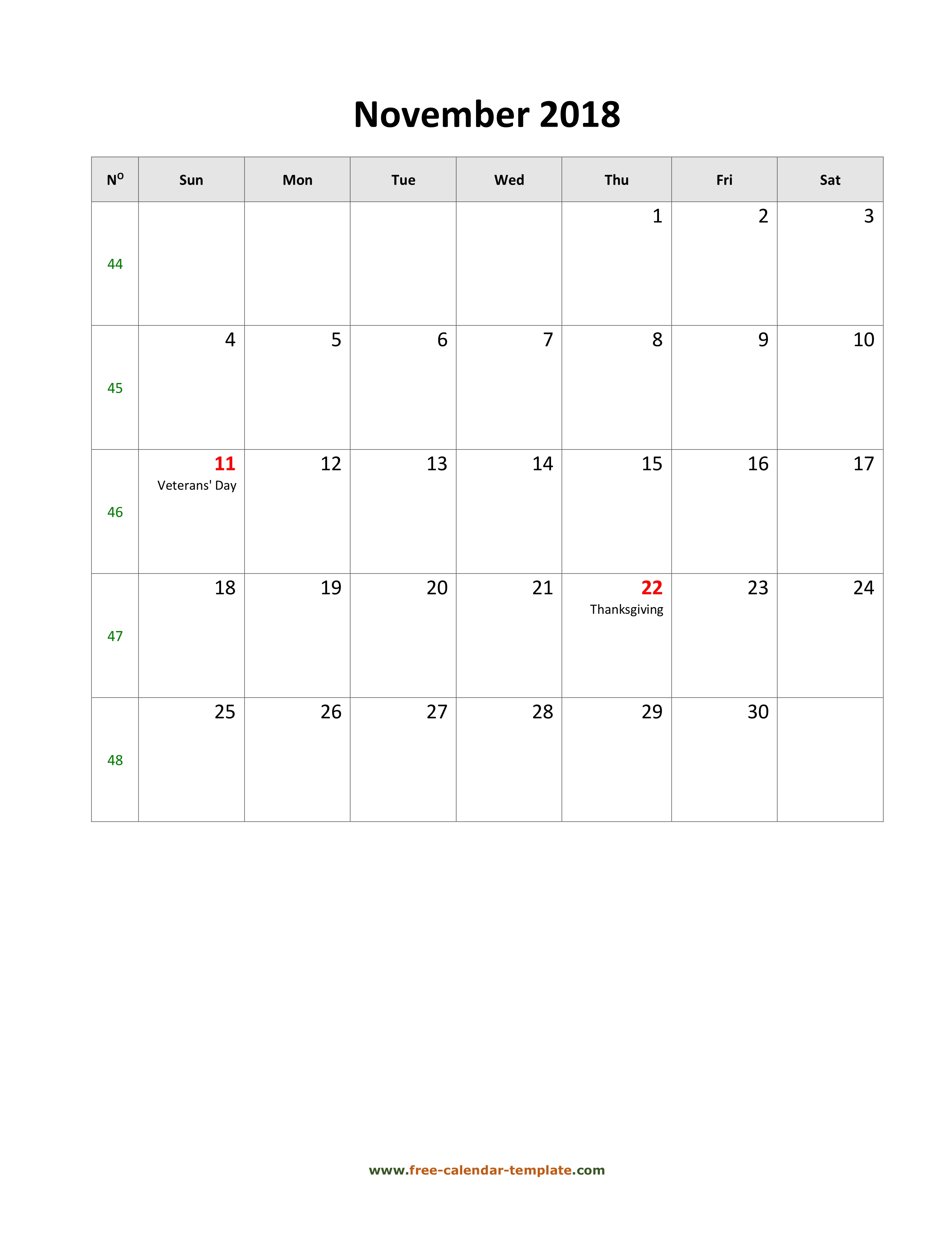 2018 November Calendar (Blank Vertical Template) | Free-Calendar for Holidays Calendar Templates November