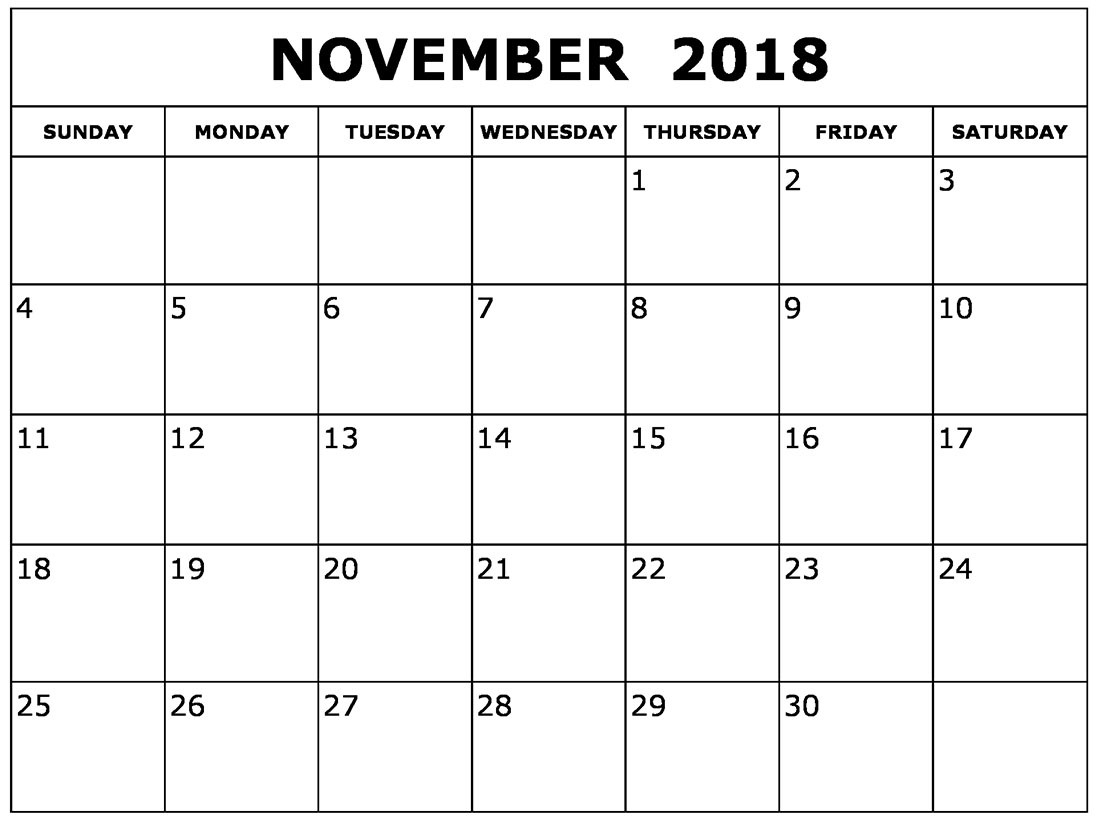 2018 November Calendar Pdf - Printable Calendar 2019| Blank Calendar pertaining to Blank Calendar Template November
