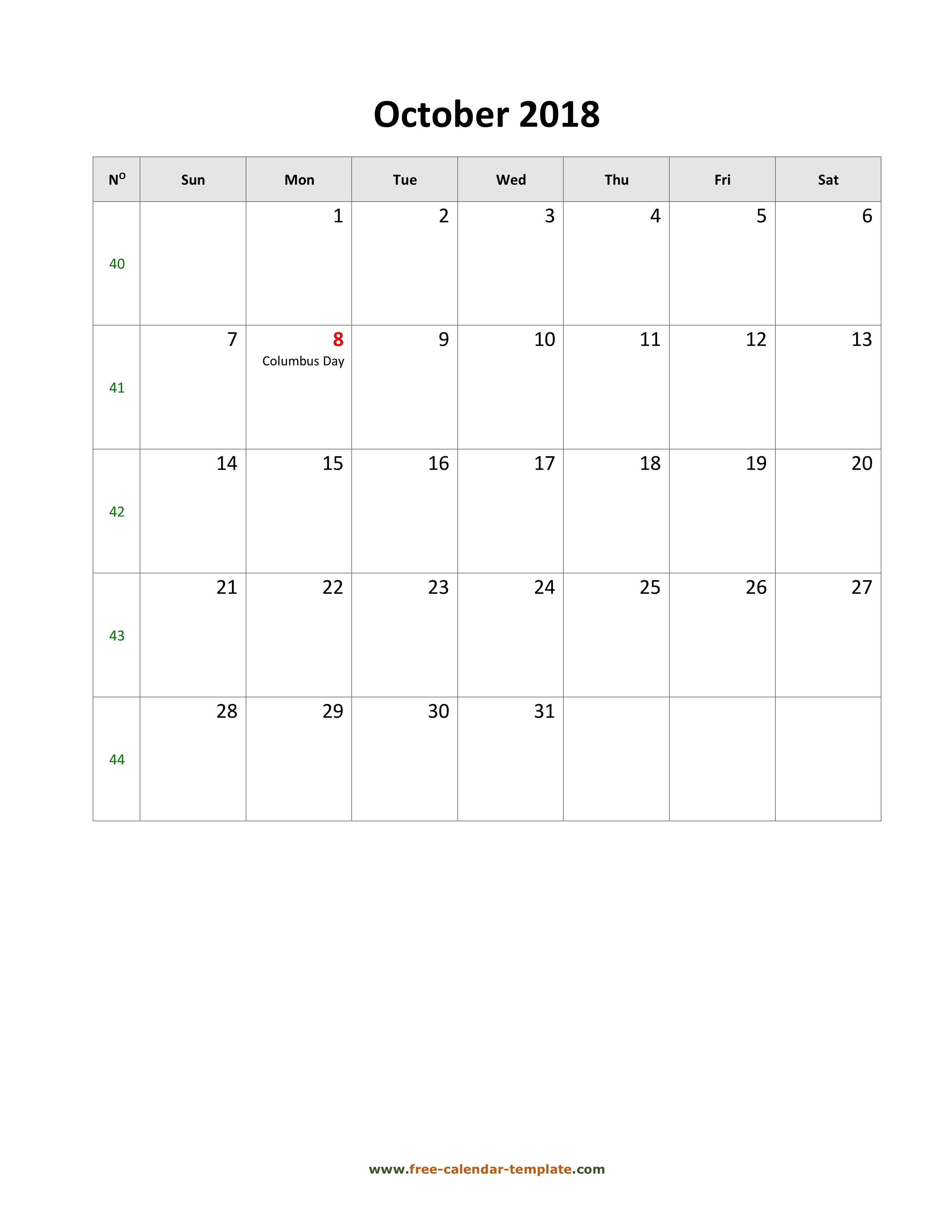 2018 October Calendar (Blank Vertical Template) | Free-Calendar with regard to October Calendar Printable Template