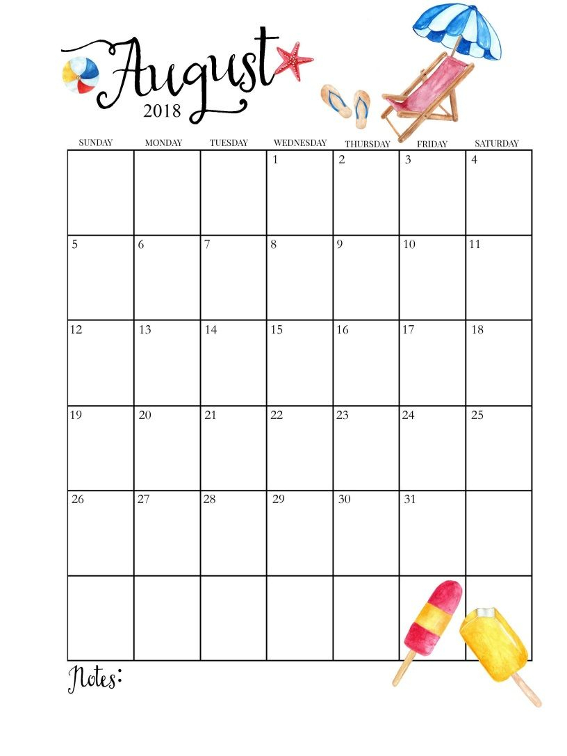 2018 Printable Monthly August Calendar | 2018 Calendar | August within Cute Calendar Template August