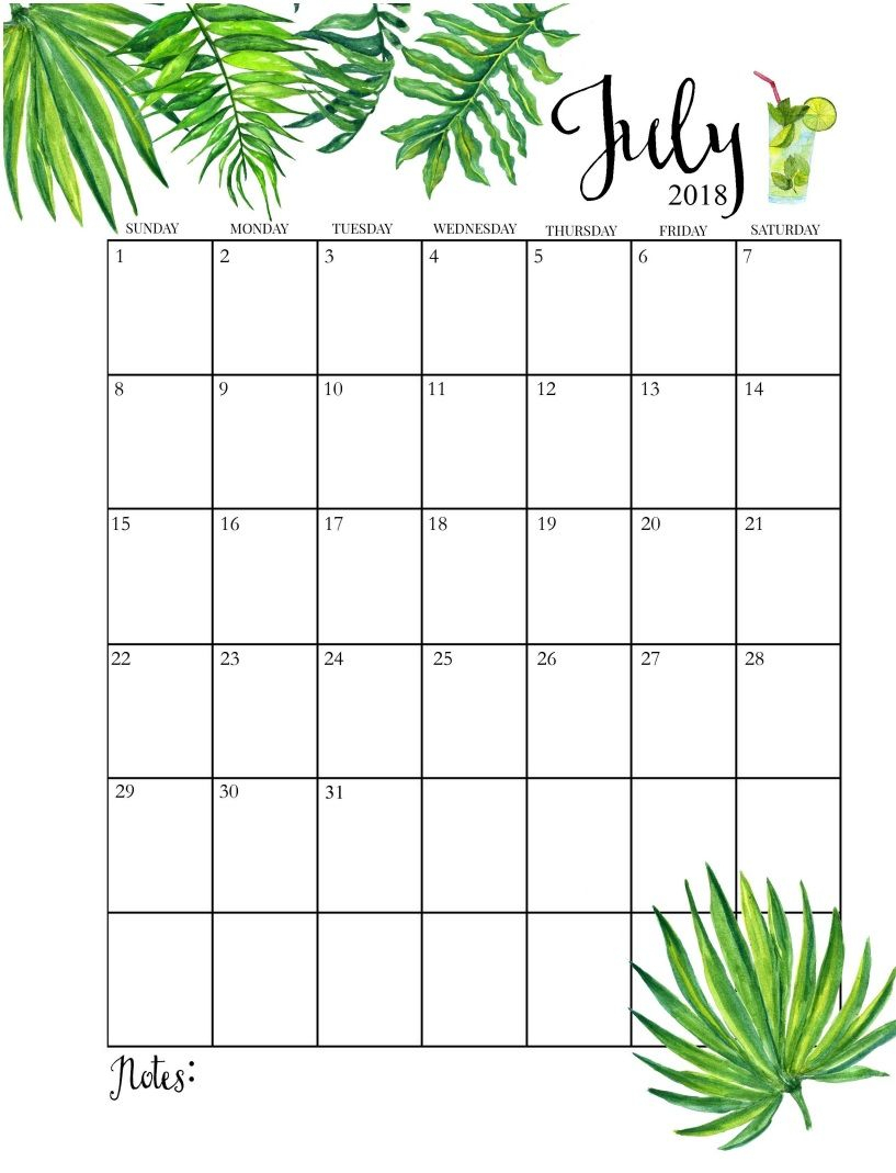 2018 Printable Monthly July Calendar | Organisation | July Calendar with July Calendar Template Flowers