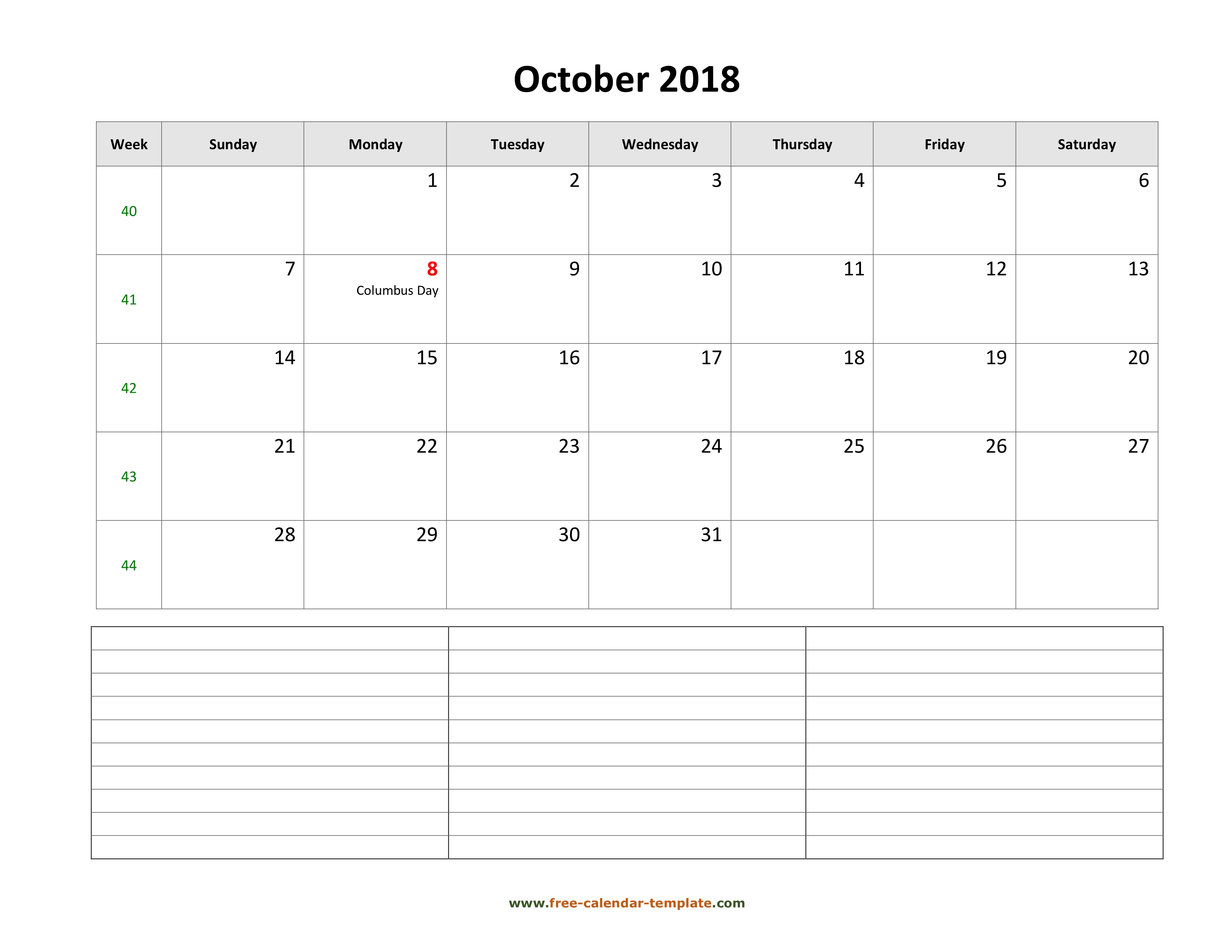 2018 Printable October Calendar With Space For Appointments pertaining to Monday To Sunday Calendar Template October