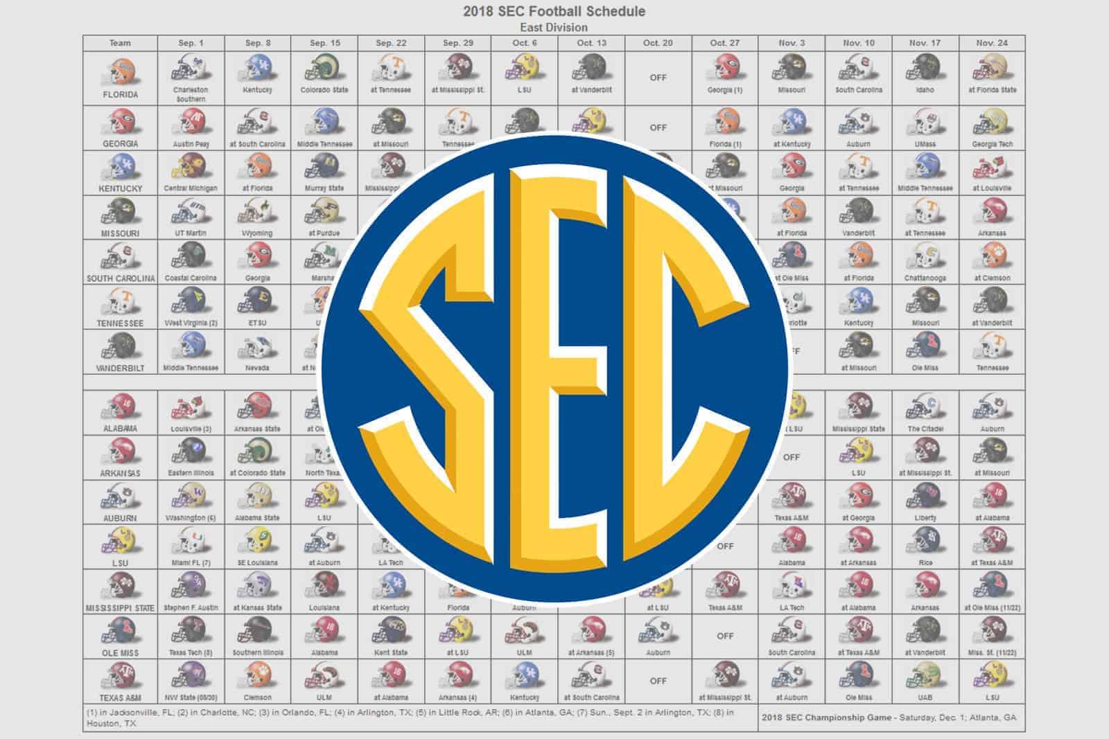 2018 Sec Football Helmet Schedule for 2019- 2020 Calendar Printable Uga