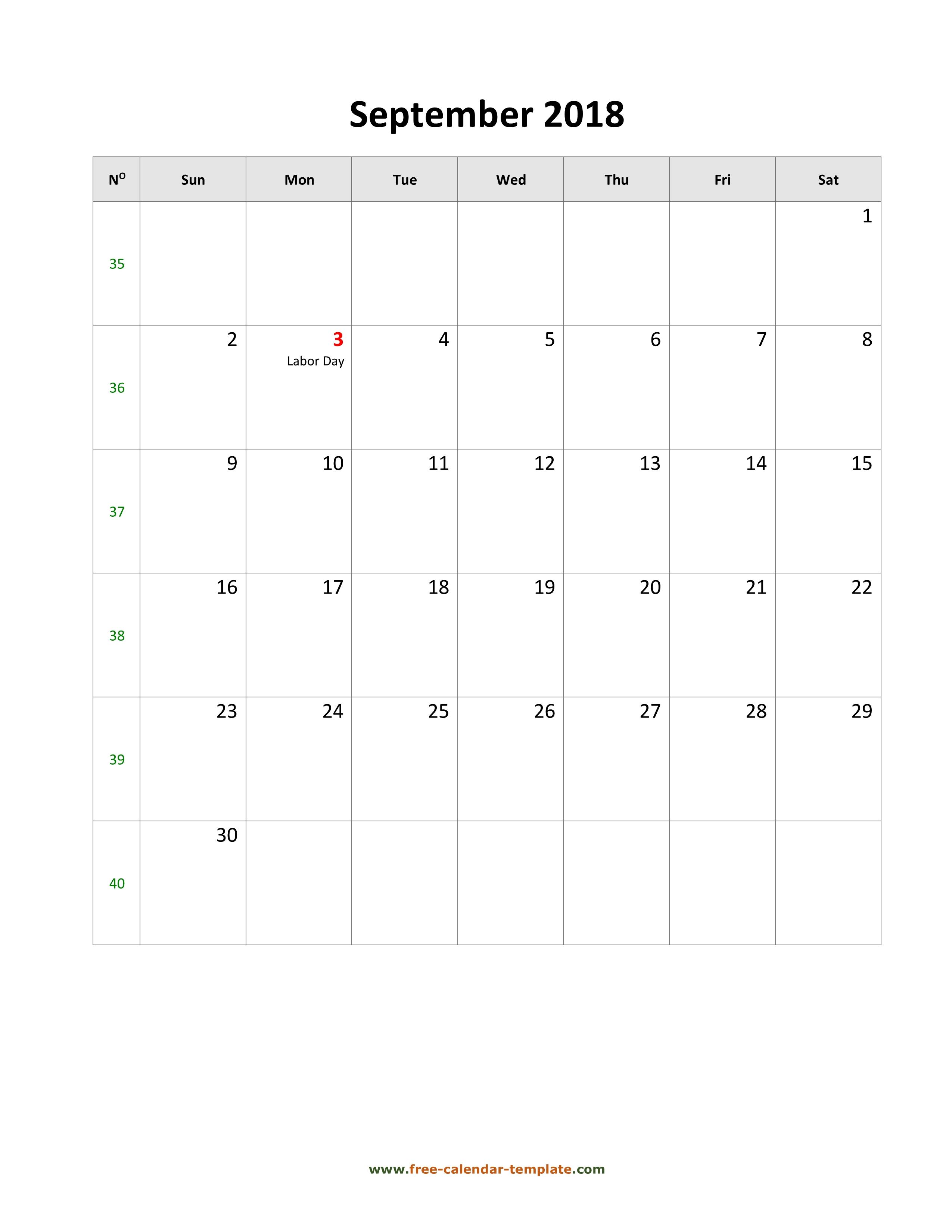 2018 September Calendar (Blank Vertical Template)   Free-Calendar with regard to September Printable Monthly Calendars Blank
