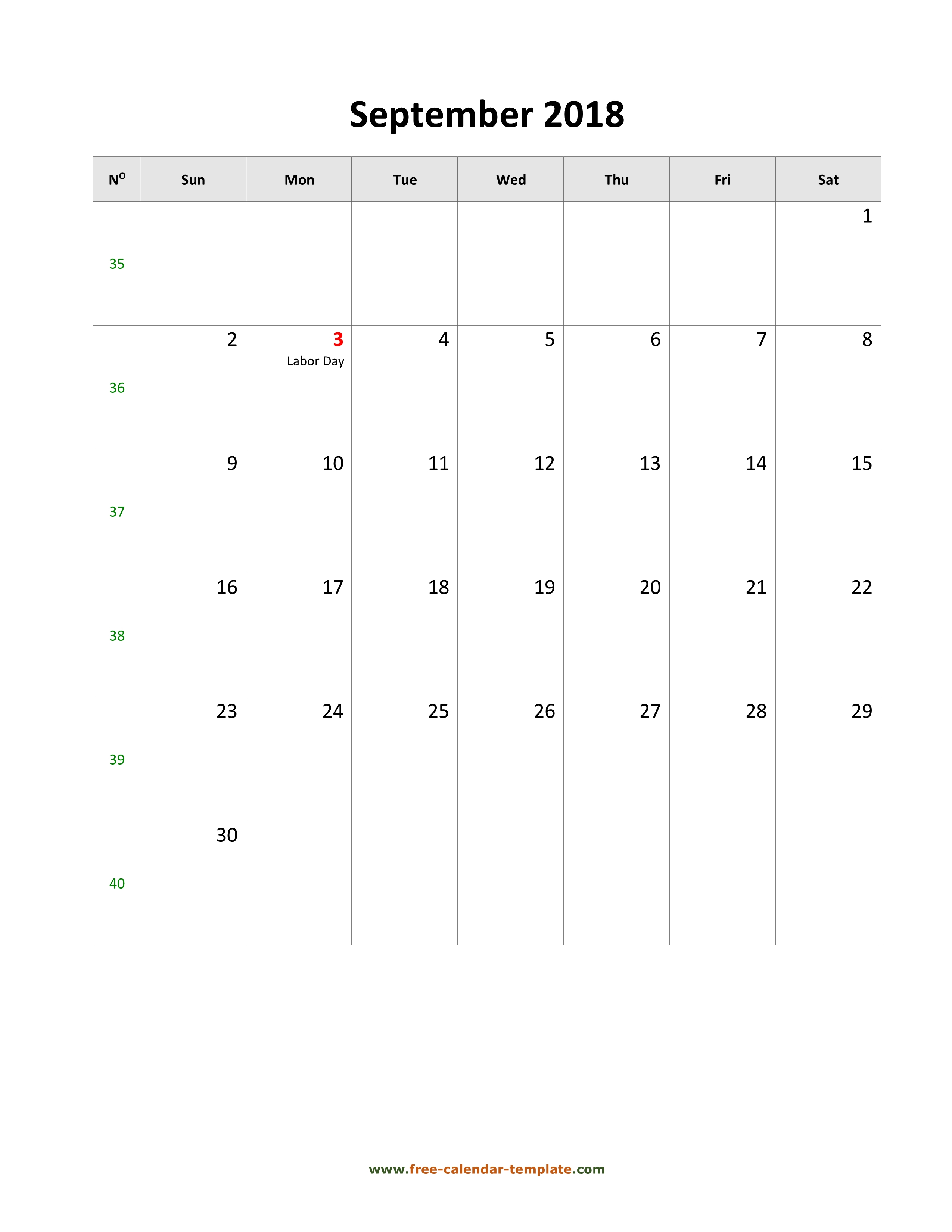2018 September Calendar (Blank Vertical Template) | Free-Calendar within September Calendar Printable Template Blank