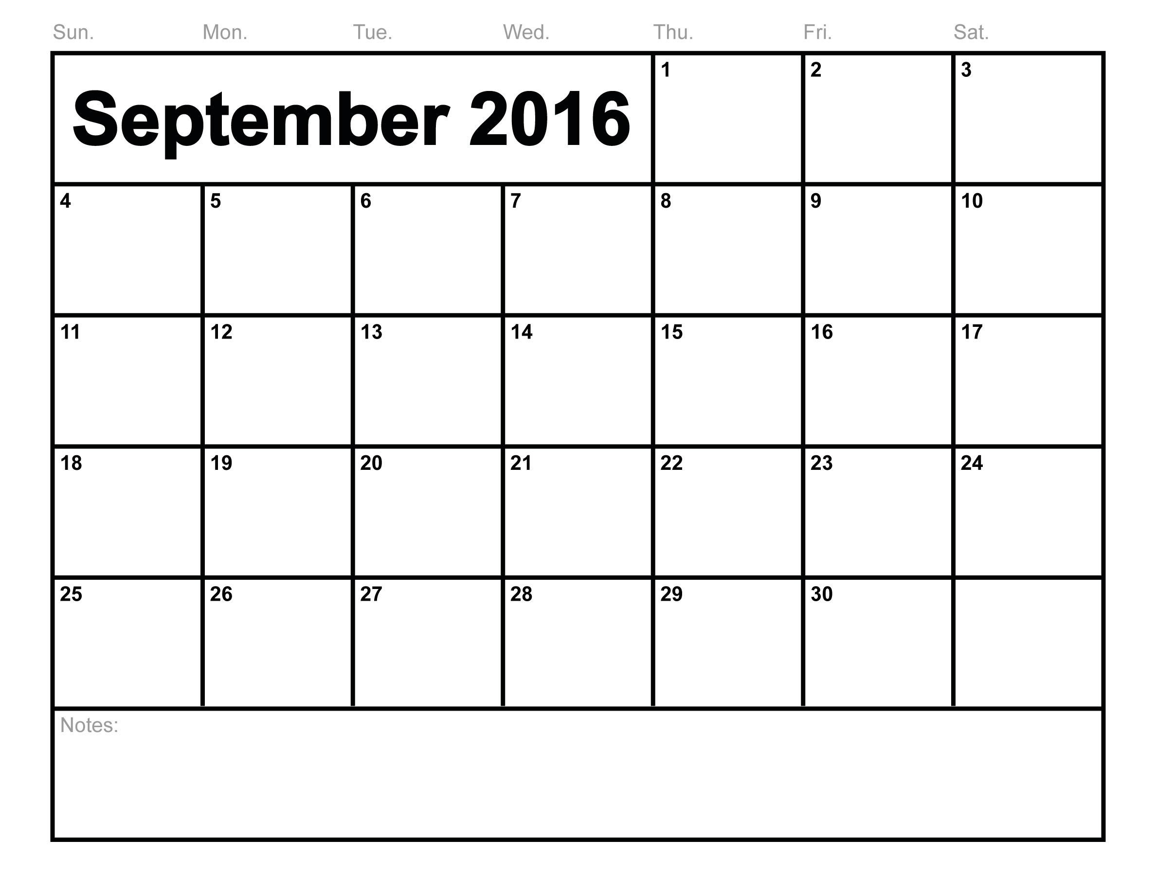 2018 September Printable Calendar Free, Blank Templates Pdf for December Blank Monthly Calendar